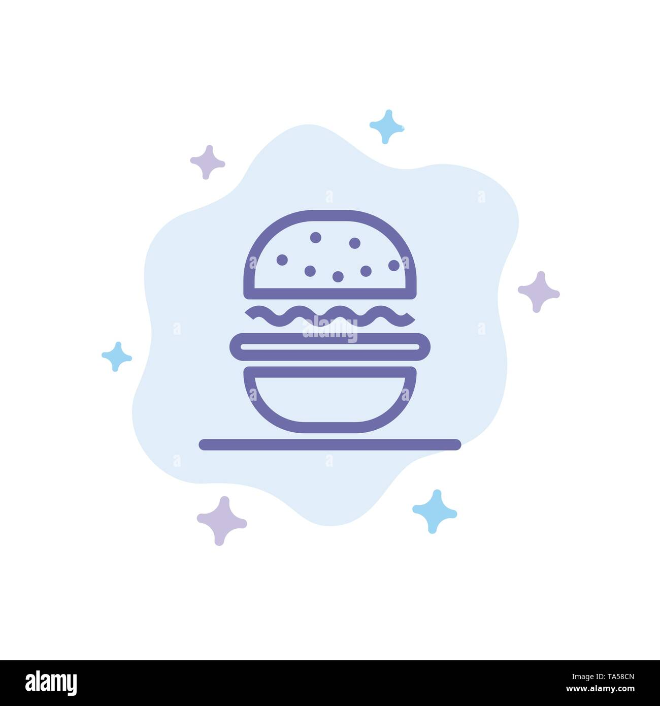 Burger, Eat, American, Usa Blue Icon on Abstract Cloud Background - Stock Image