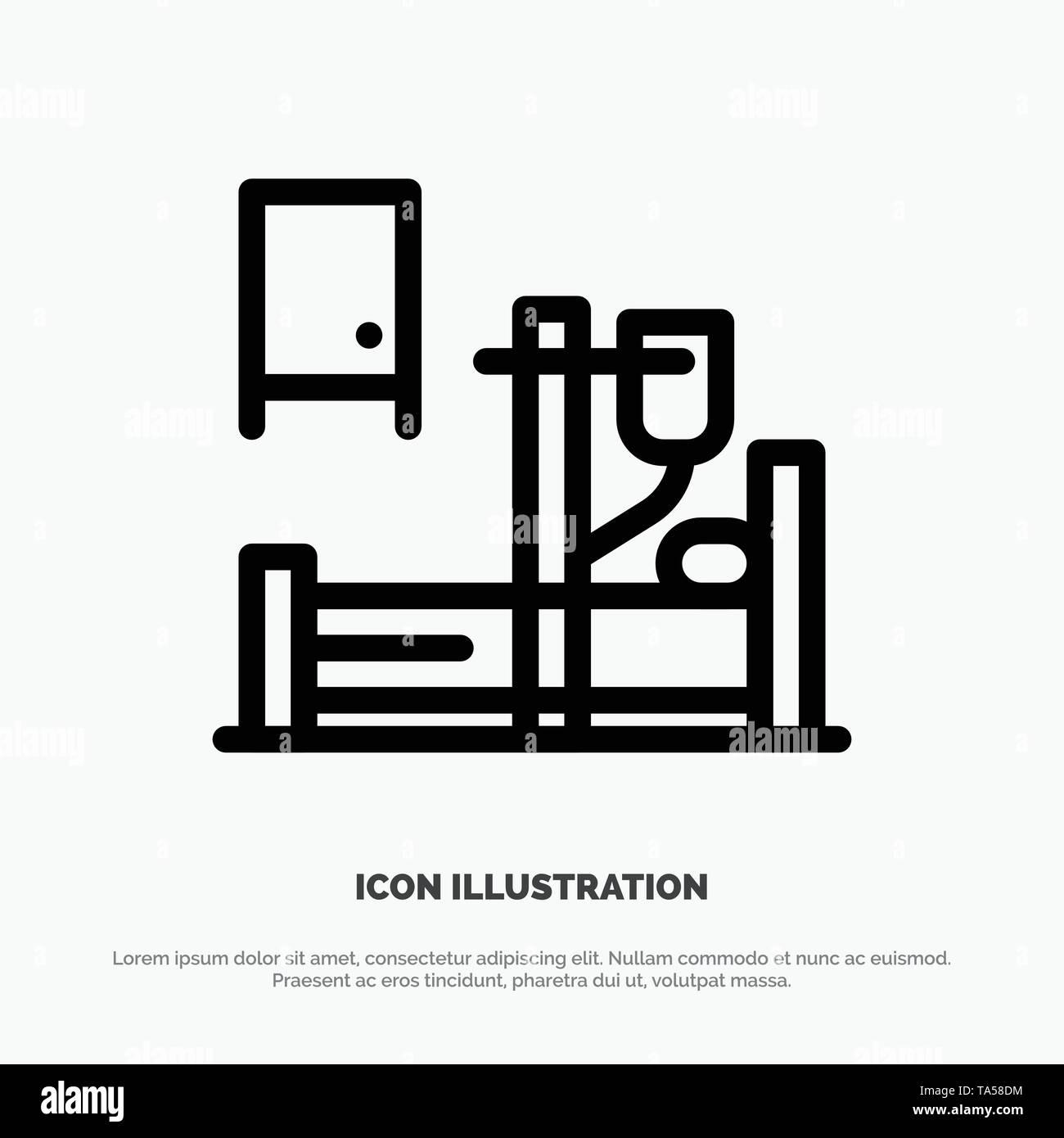 Medical, Drip, Medicine, Hospital Line Icon Vector - Stock Image