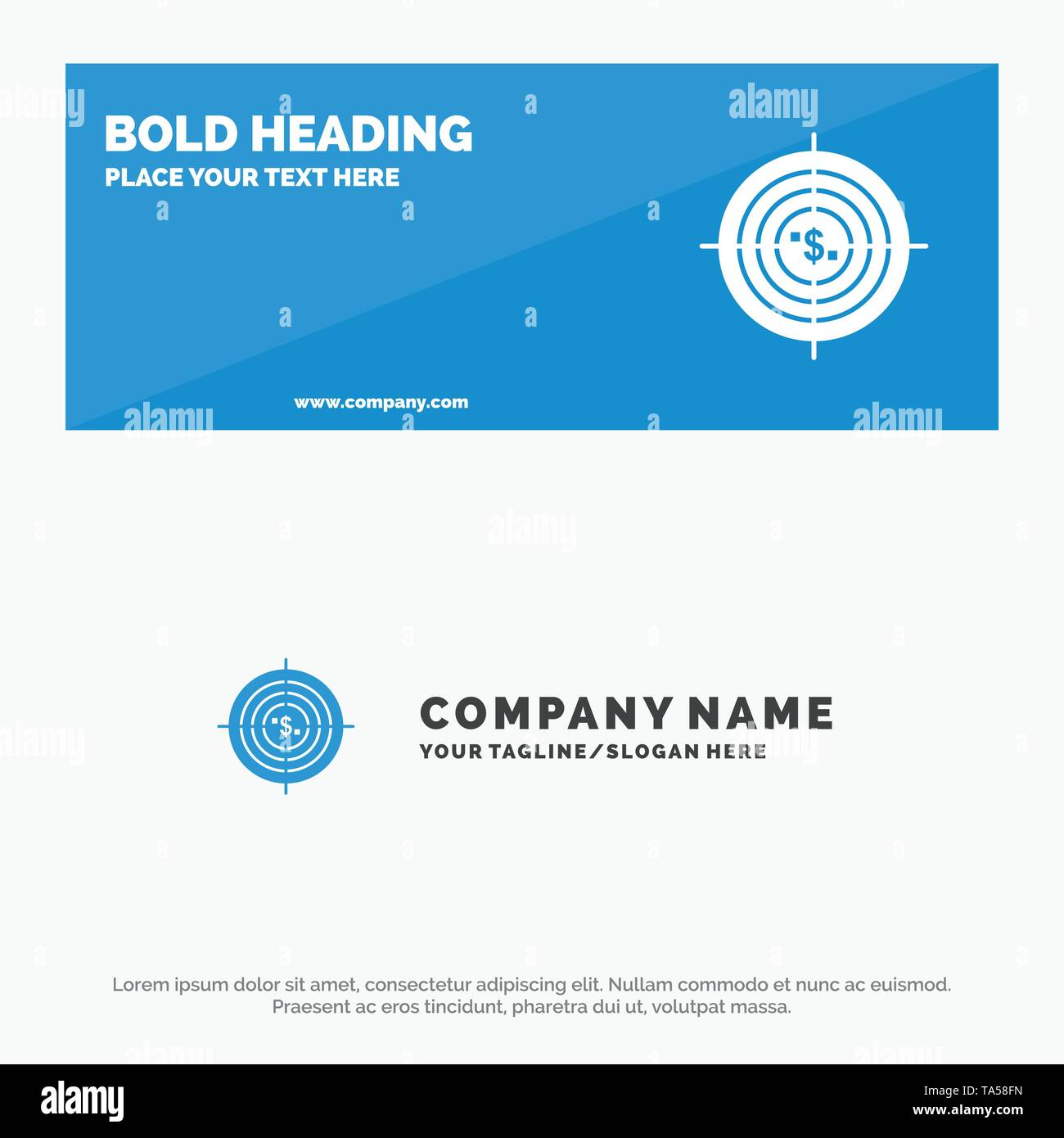 Target, Aim, Business, Cash, Financial, Funds, Hunting, Money SOlid Icon Website Banner and Business Logo Template - Stock Image
