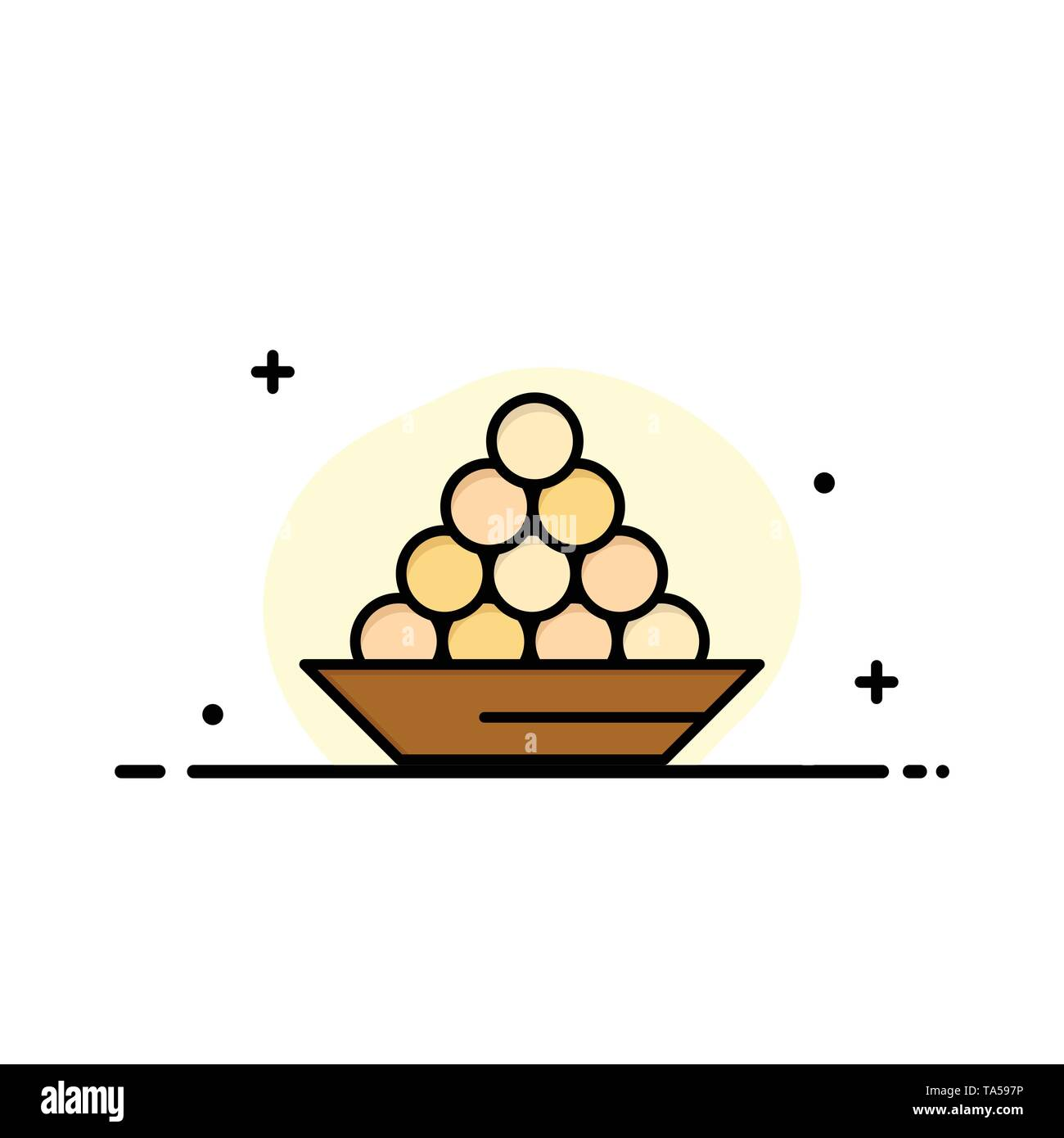 Bowl, Delicacy, Dessert, Indian, Laddu, Sweet, Treat  Business Flat Line Filled Icon Vector Banner Template - Stock Image
