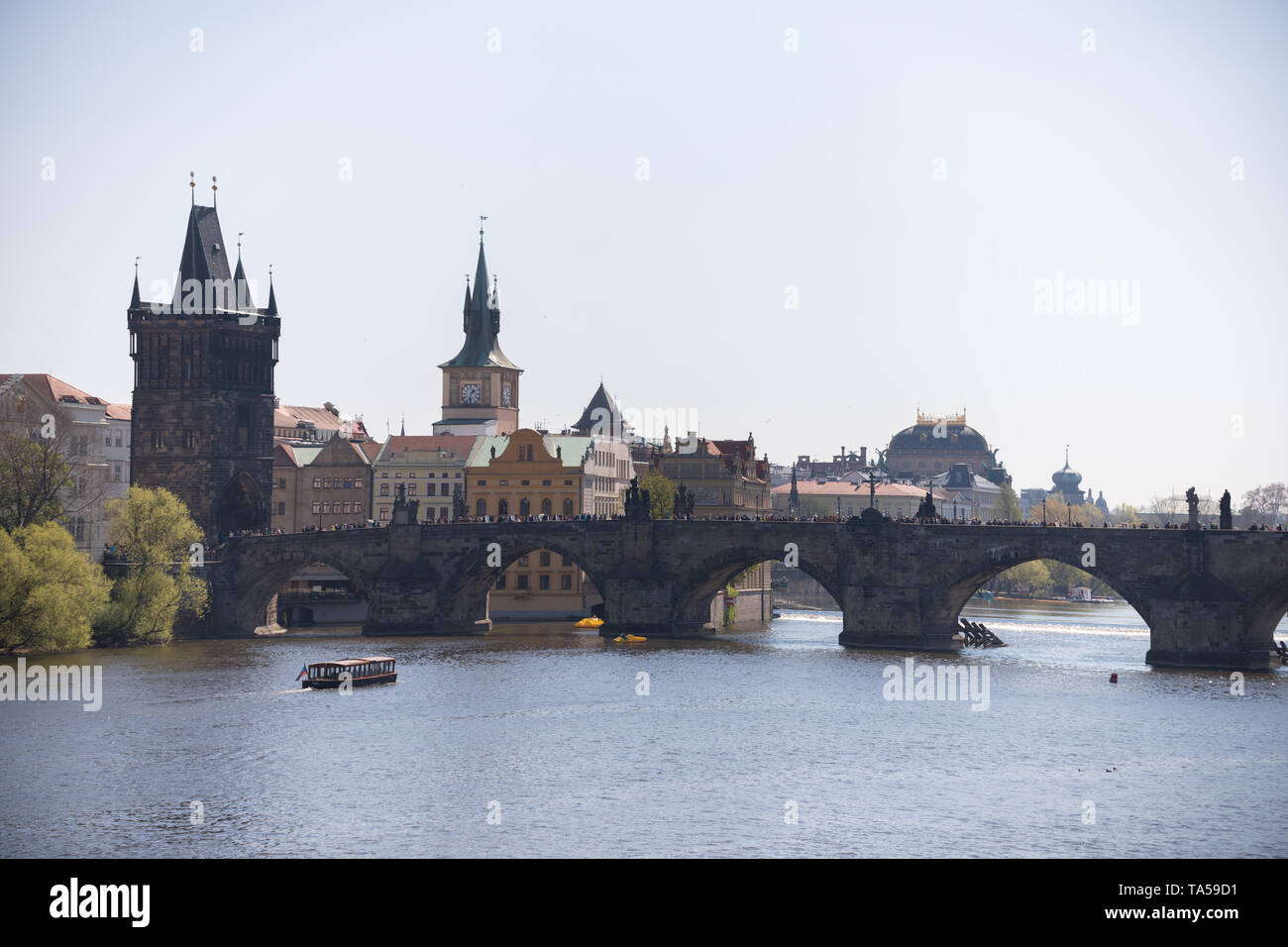 Charles Bridge in a calm weather and a daylight. Mid shot Stock Photo