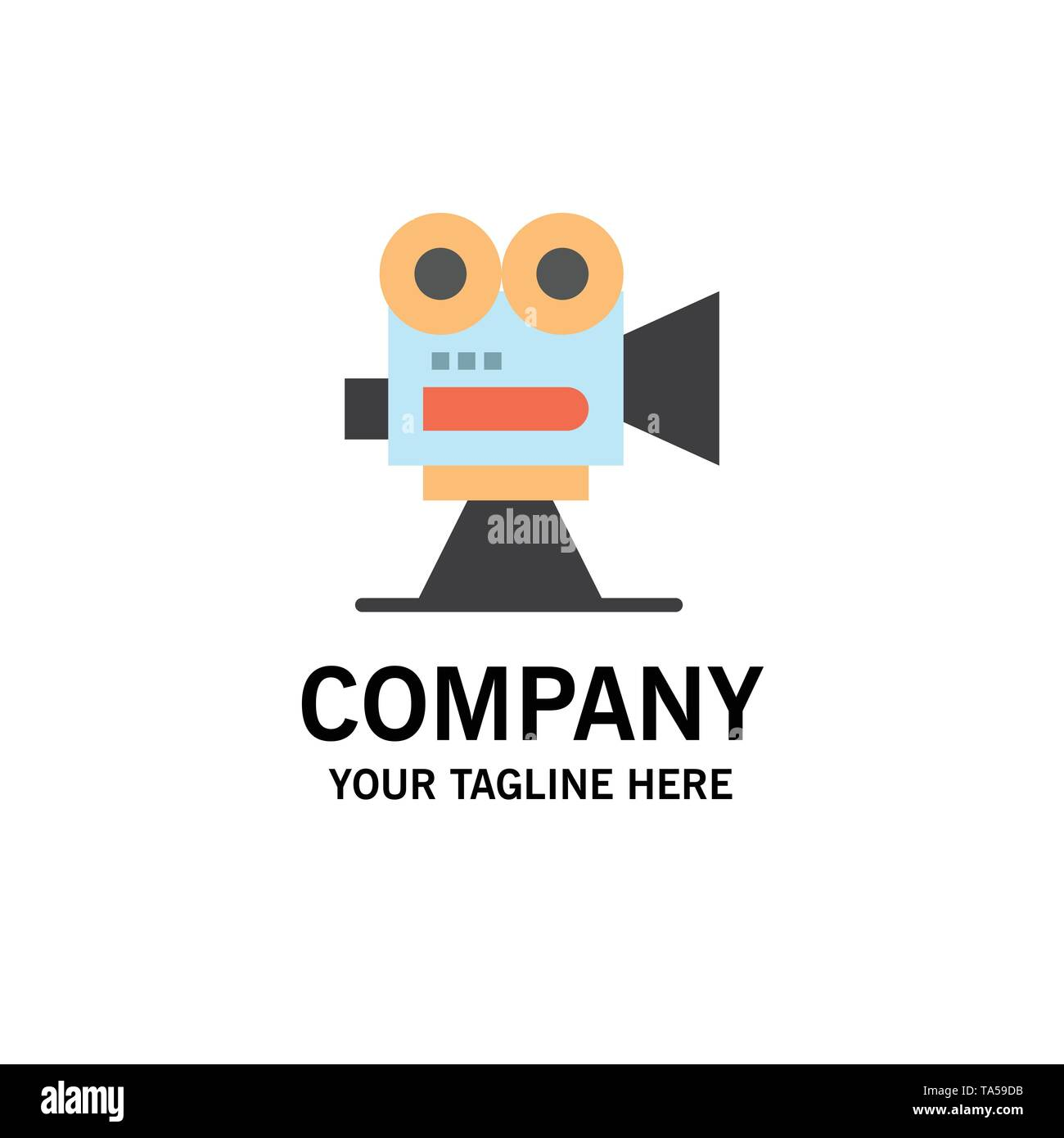 Camera, Capture, Film, Movie, Professional Business Logo Template. Flat Color - Stock Vector