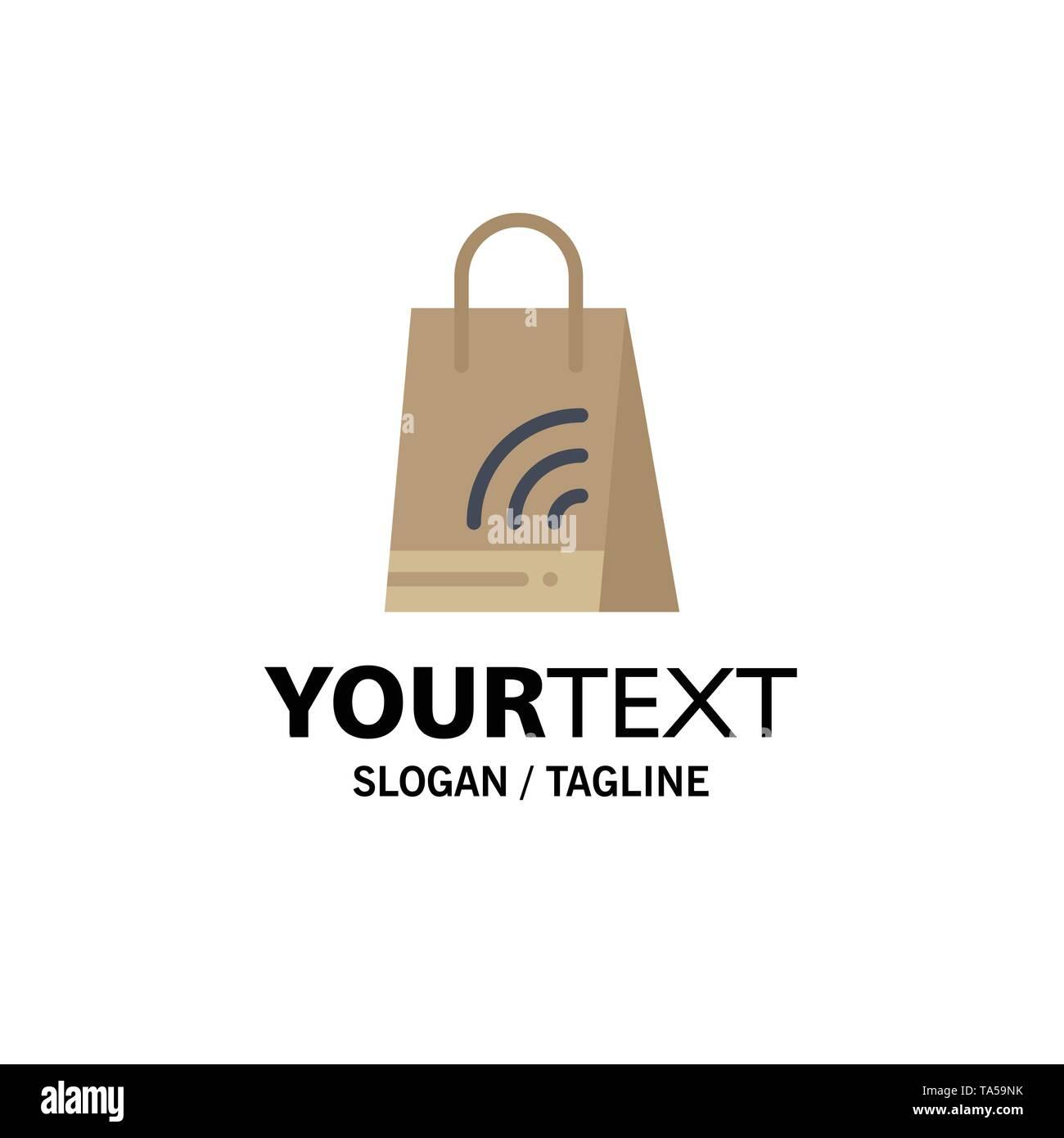 Bag, Handbag, Wifi, Shopping Business Logo Template. Flat Color - Stock Image