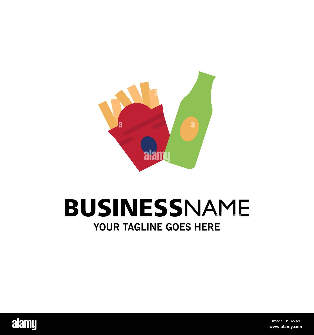 Bottle, Fries, American Business Logo Template. Flat Color - Stock Image