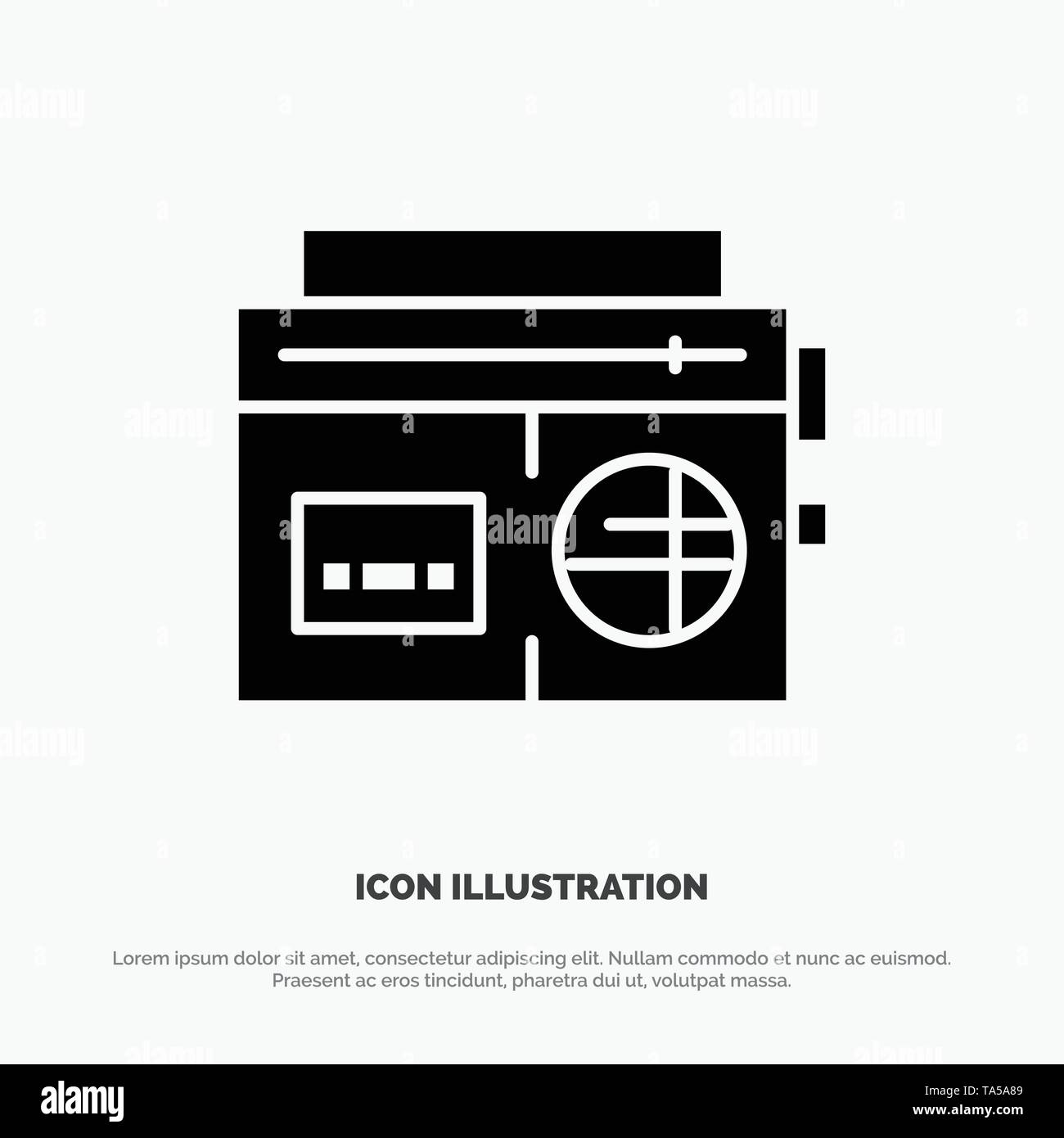 Tape, Radio, Music, Media Solid Black Glyph Icon - Stock Image