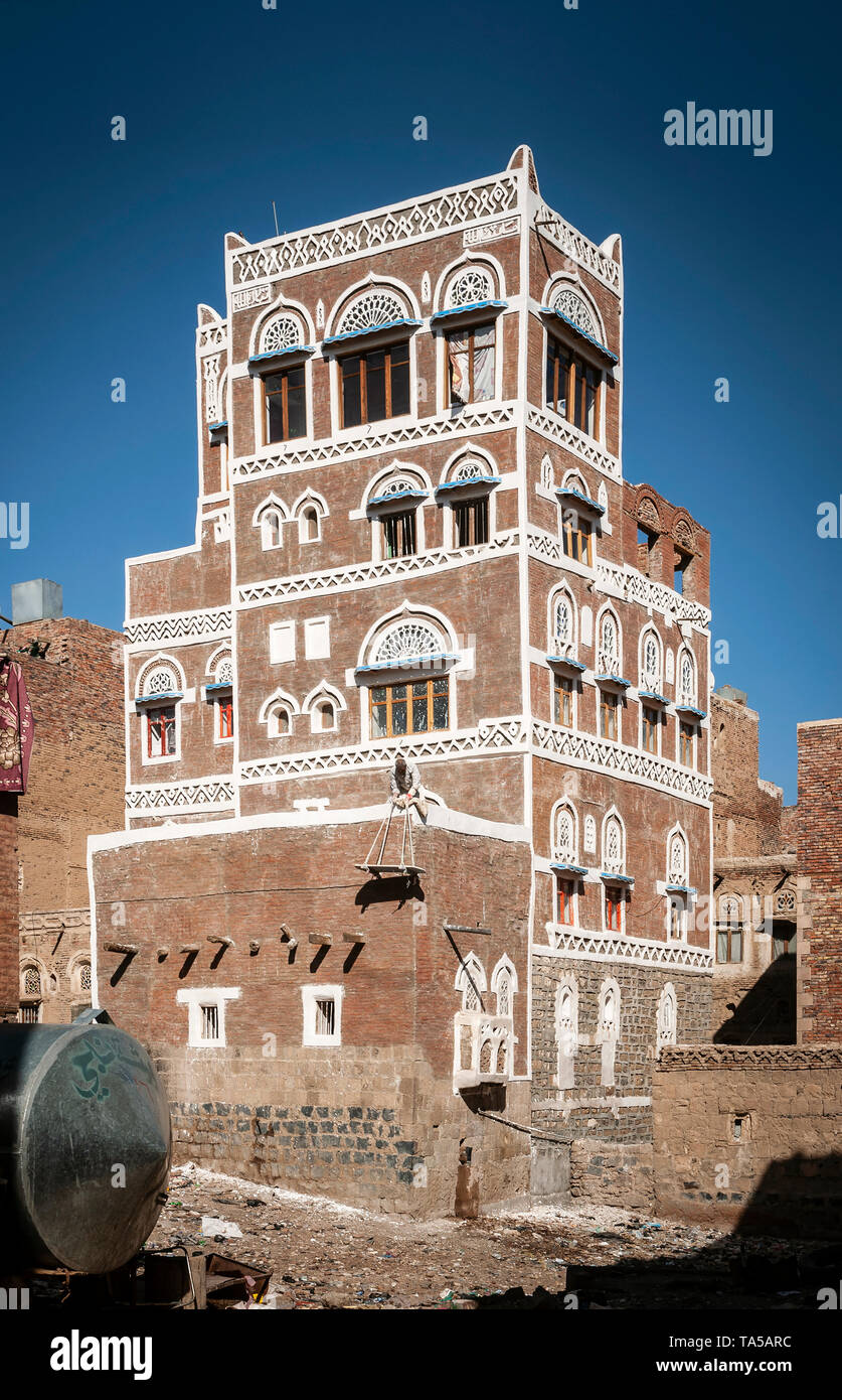 famous traditional architecture heritage buildings view in sanaa city old town in yemen - Stock Image