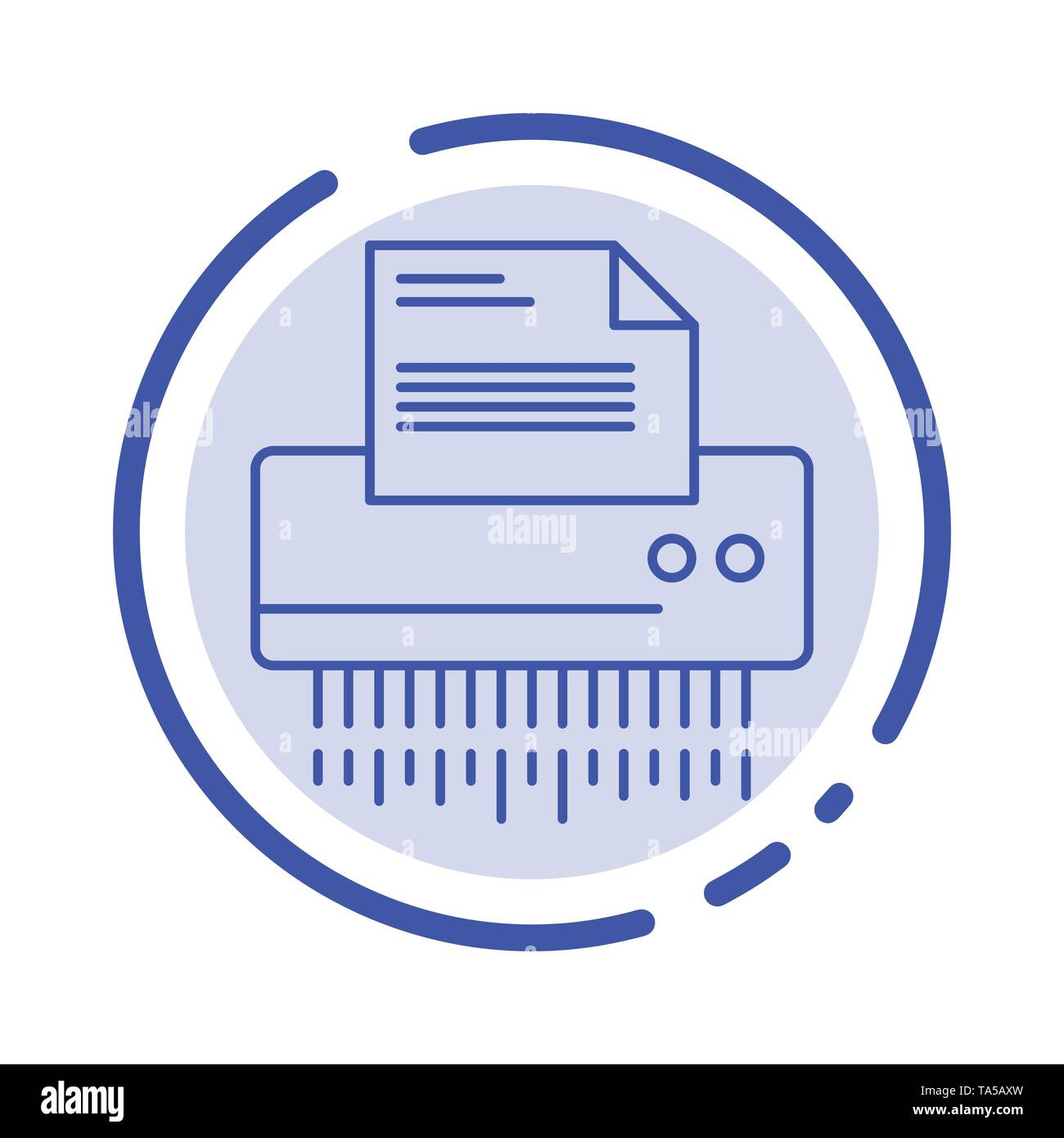 Shredder, Confidential, Data, File, Information, Office, Paper Blue Dotted Line Line Icon - Stock Vector