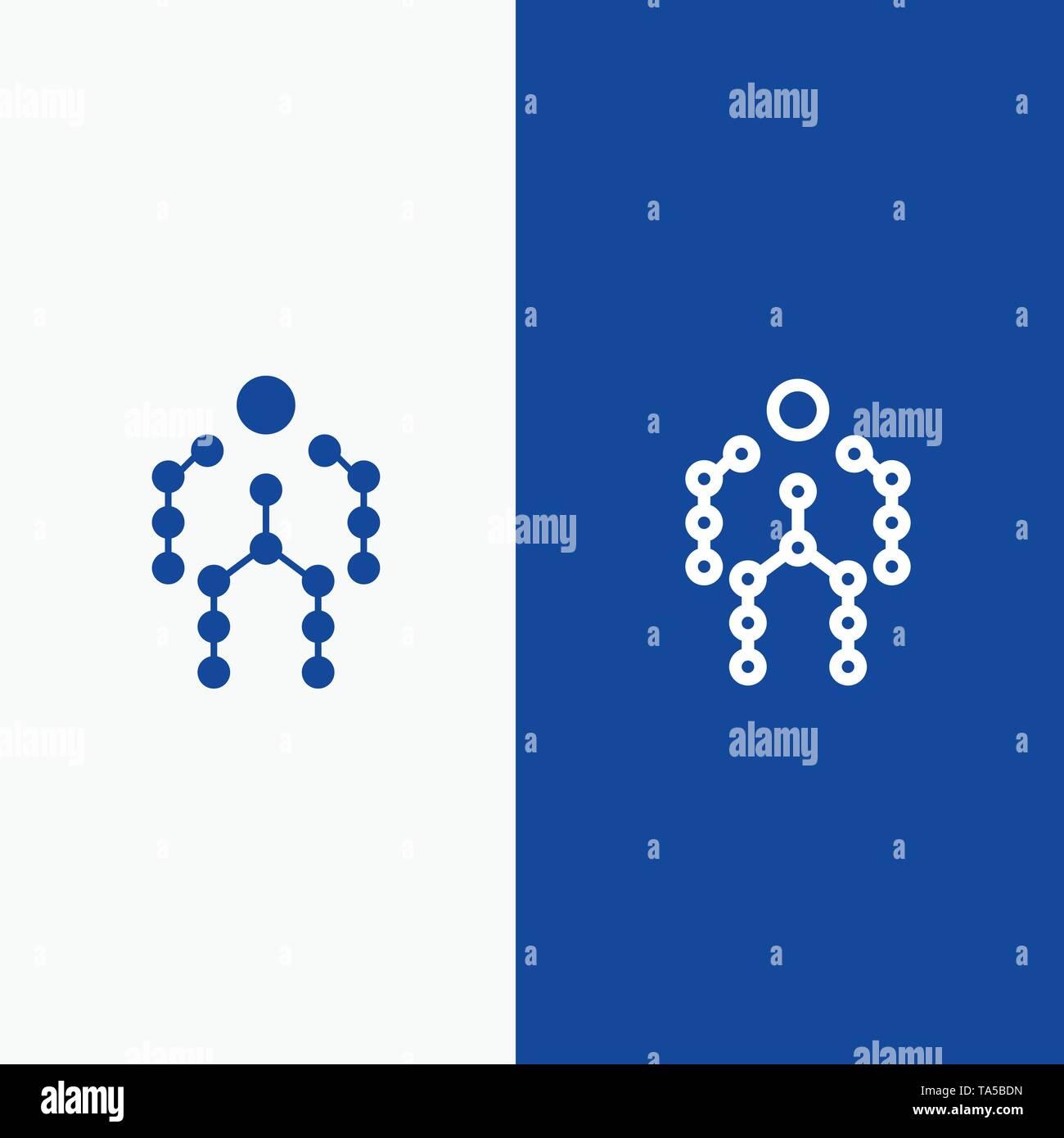 Action, Bones, Capture, Human, Motion Line and Glyph Solid icon Blue banner Line and Glyph Solid icon Blue banner - Stock Image