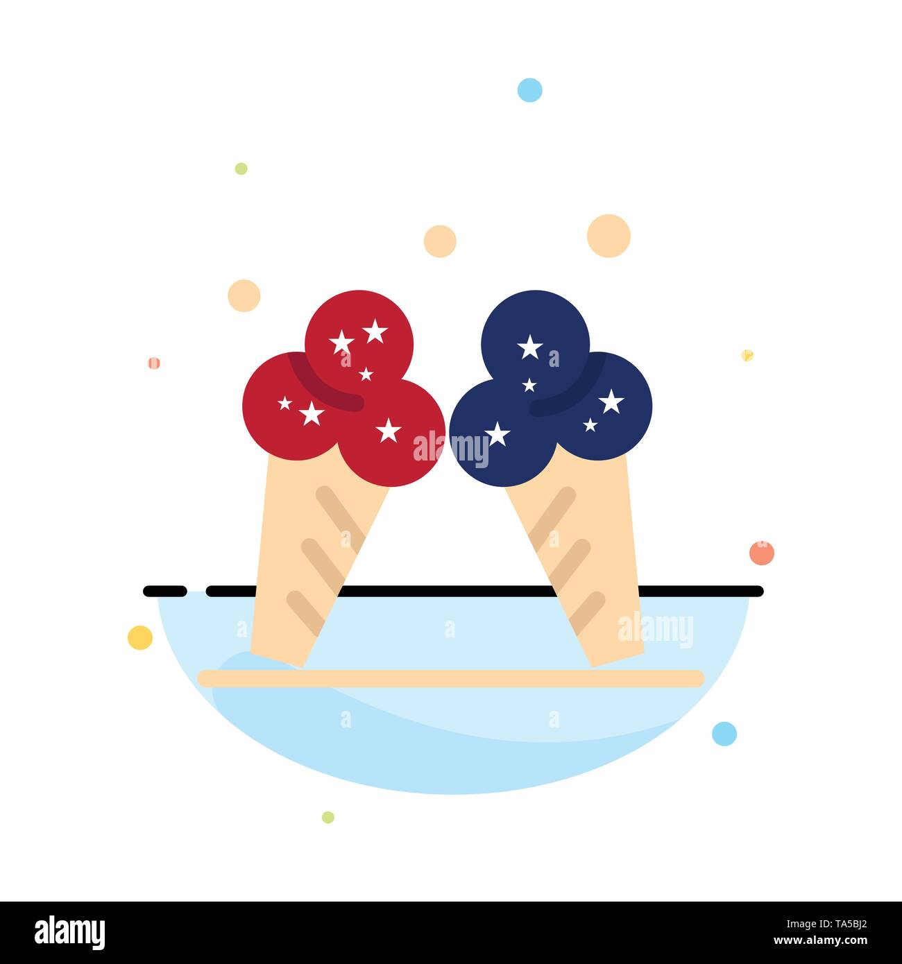Ice cream, Ice, Cream, American Abstract Flat Color Icon Template - Stock Image