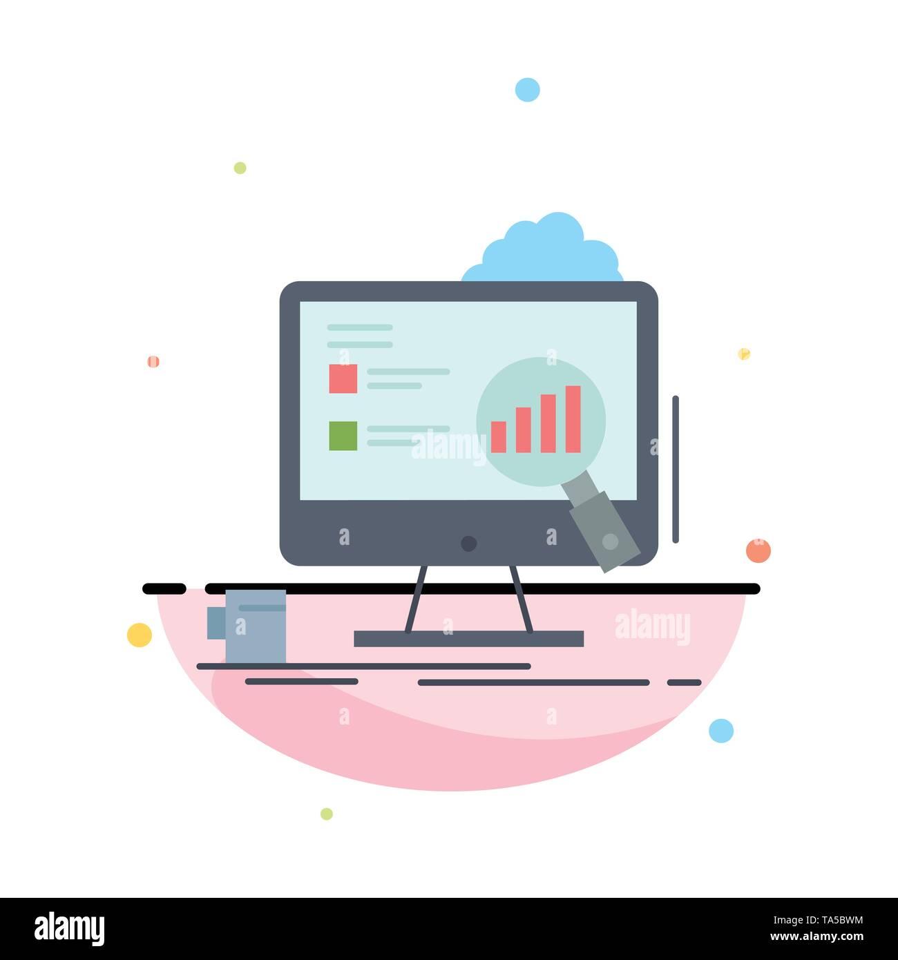 analytics, board, presentation, laptop, statistics Flat Color Icon Vector - Stock Image