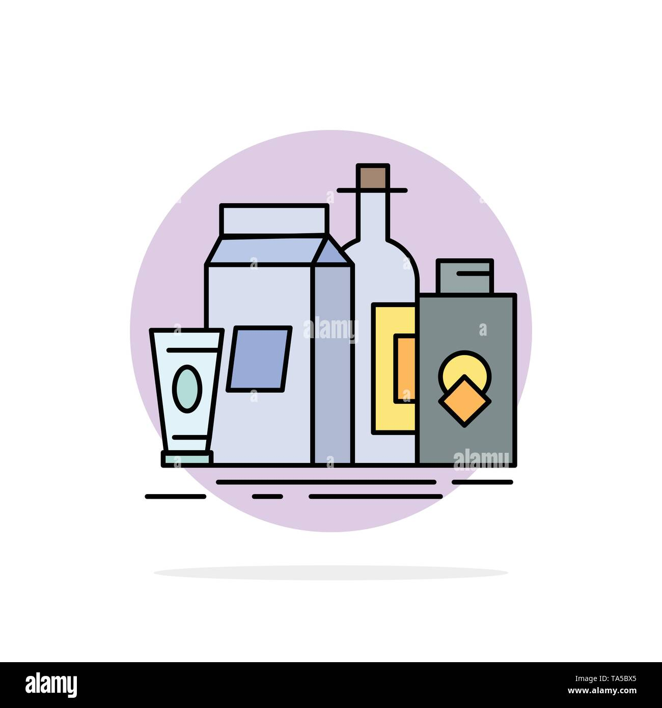 packaging, Branding, marketing, product, bottle Flat Color Icon Vector - Stock Image