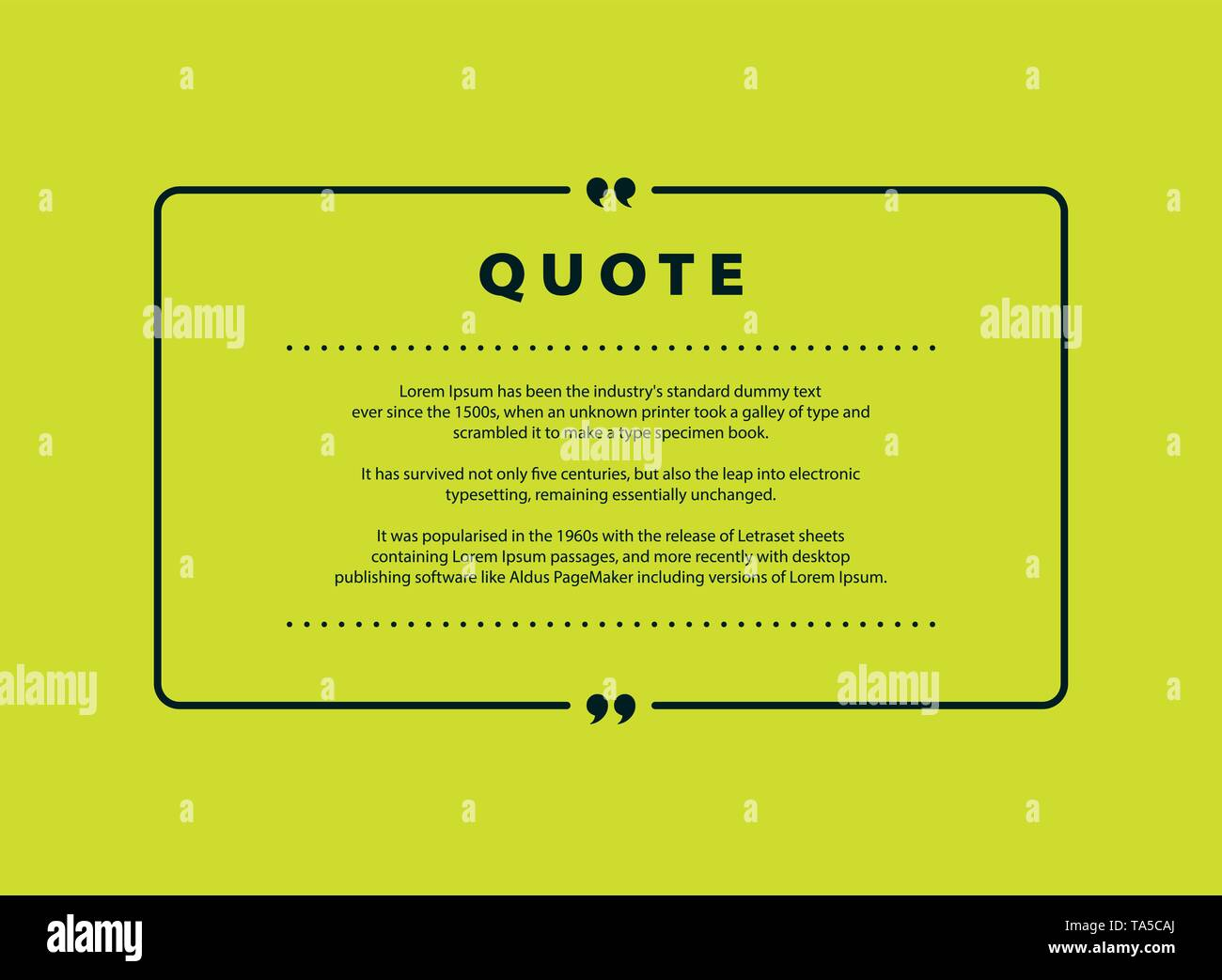 Abstract green quote vector design for speech text copy template design. You can use for copy space of text, quote design, message, headline. vector e - Stock Image