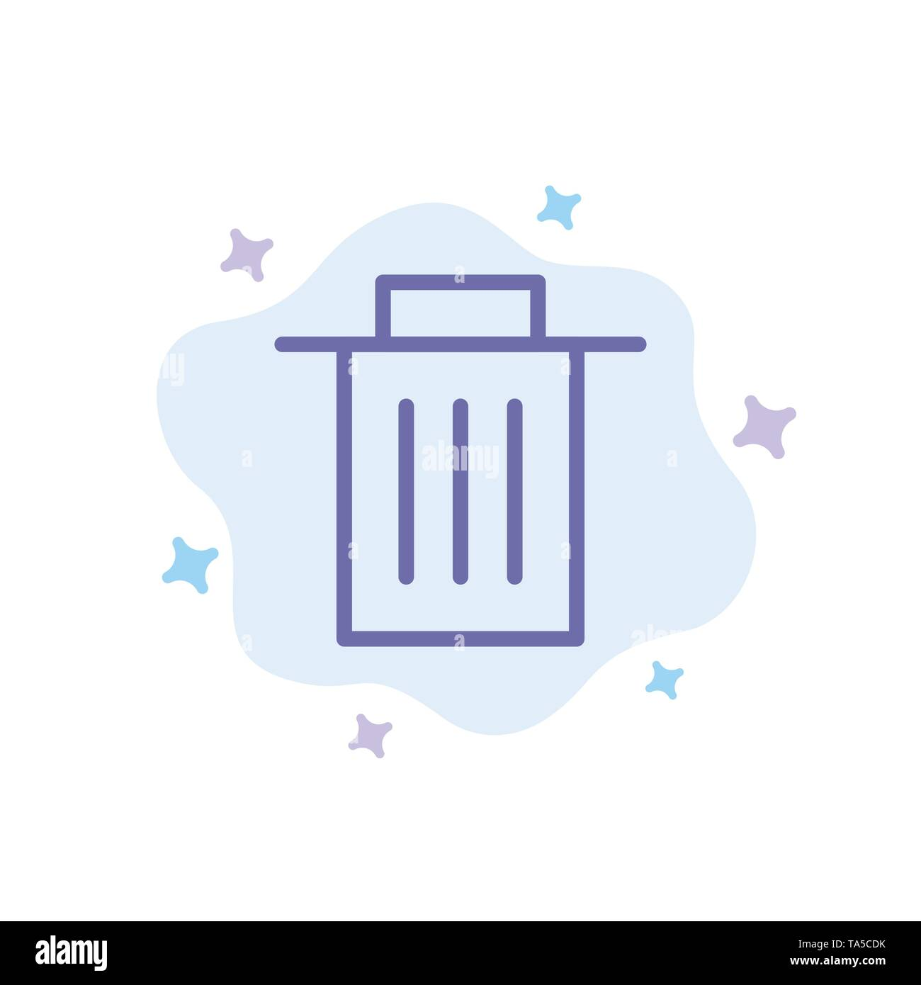 Delete, Interface, Trash, User Blue Icon on Abstract Cloud Background - Stock Image