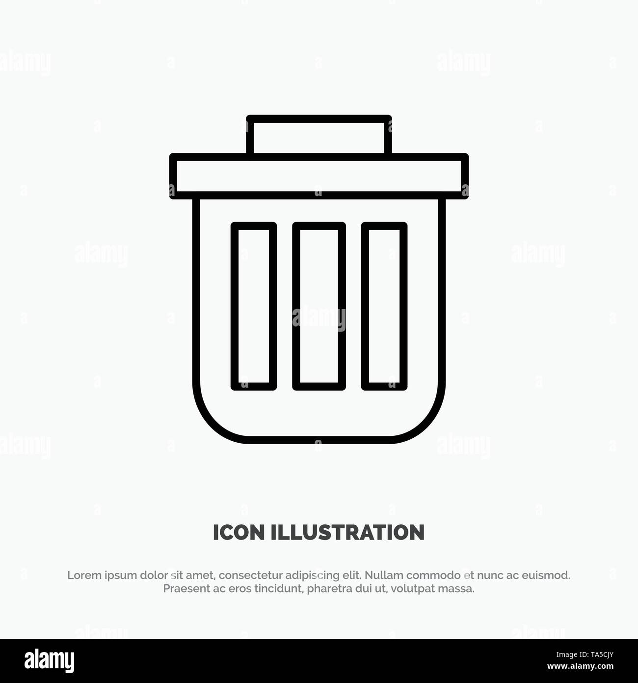 Trash, Basket, Bin, Can, Container, Dustbin, Office Line Icon Vector - Stock Image