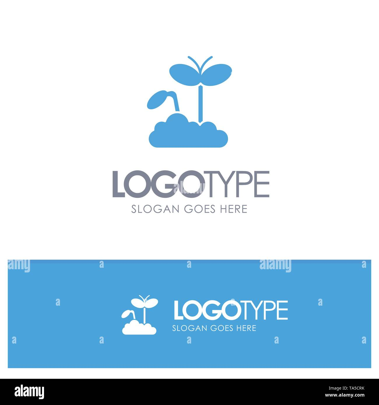 Growth, Increase, Maturity, Plant Blue Solid Logo with place for tagline - Stock Image