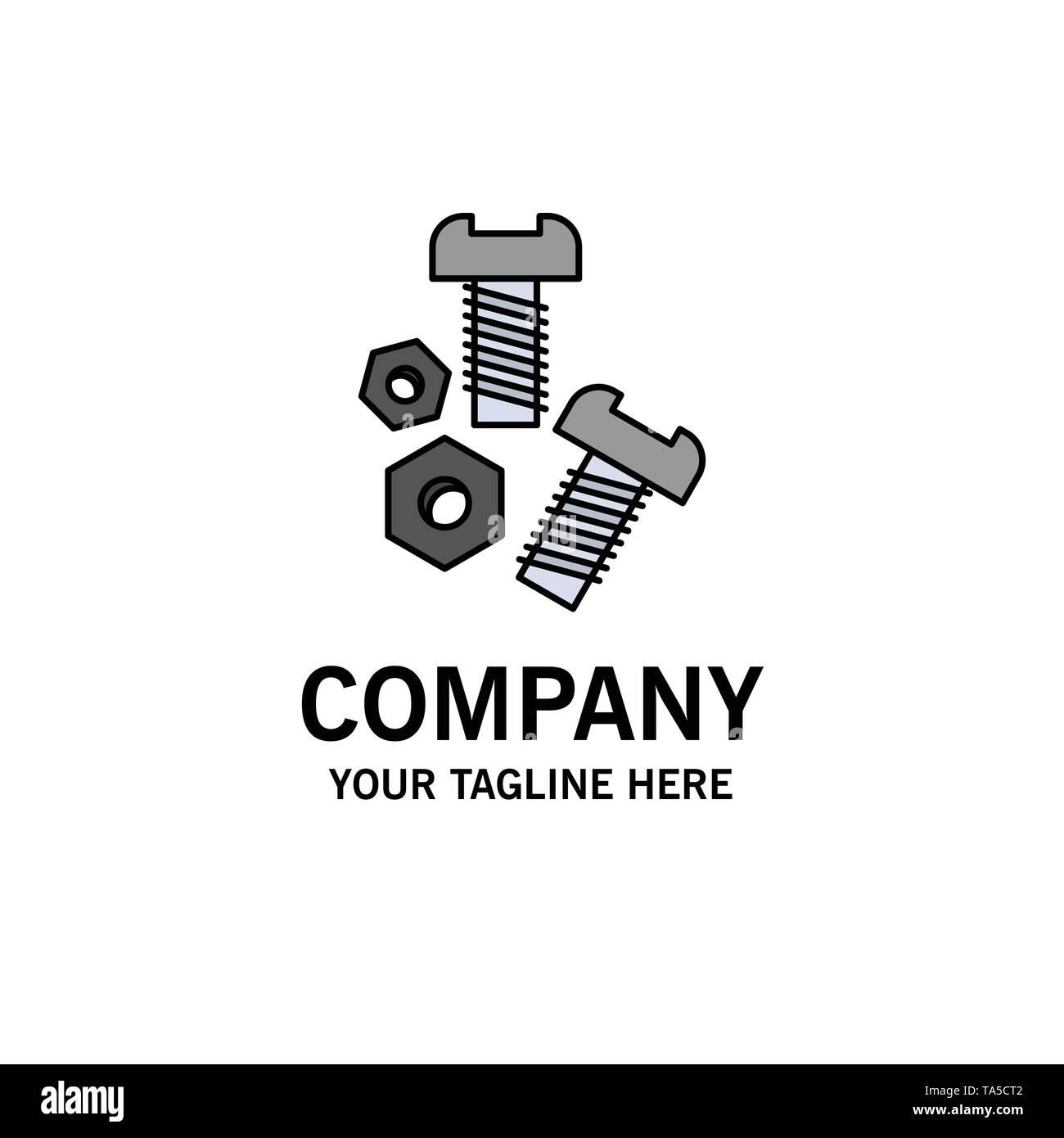 Bolt Nut Screw Tools Business Logo Template Flat Color Stock Vector Image Art Alamy