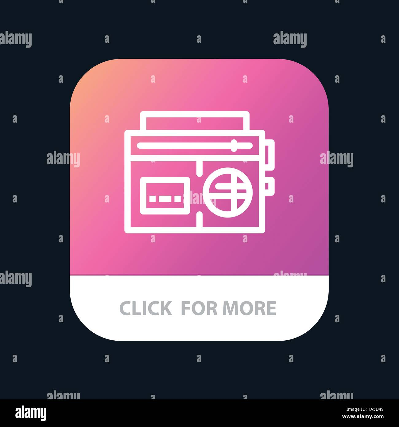 Tape, Radio, Music, Media Mobile App Button. Android and IOS Line Version - Stock Image