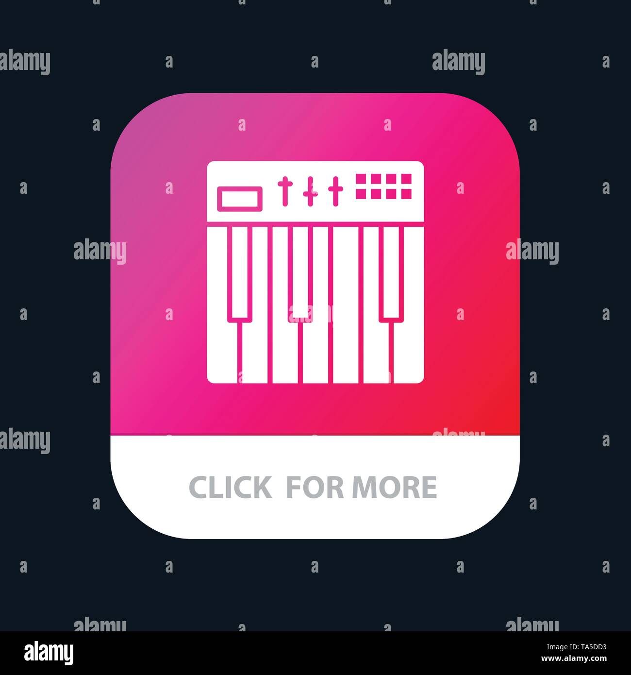 Controller, Hardware, Keyboard, Midi, Music Mobile App Button. Android and IOS Glyph Version - Stock Image