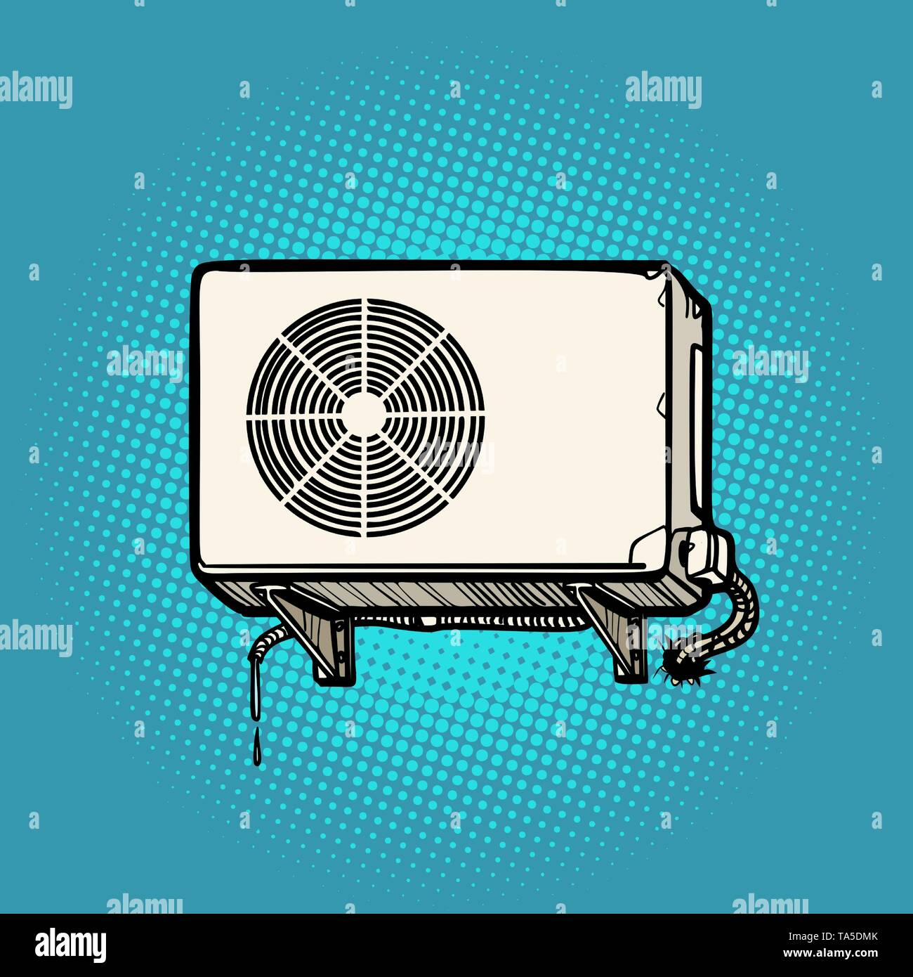 air conditioning on the outside wall - Stock Vector