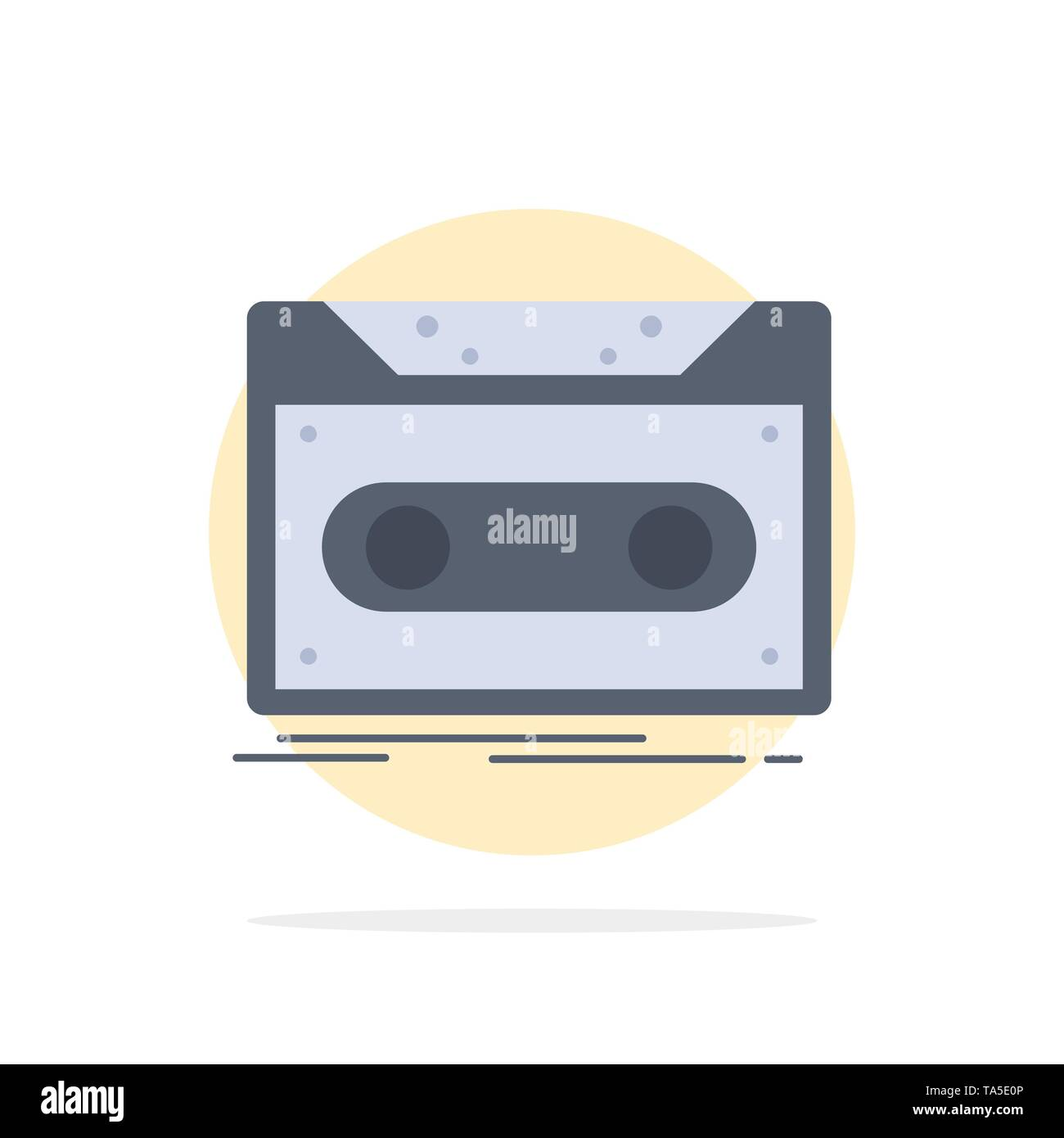 Cassette, demo, record, tape, record Flat Color Icon Vector - Stock Image