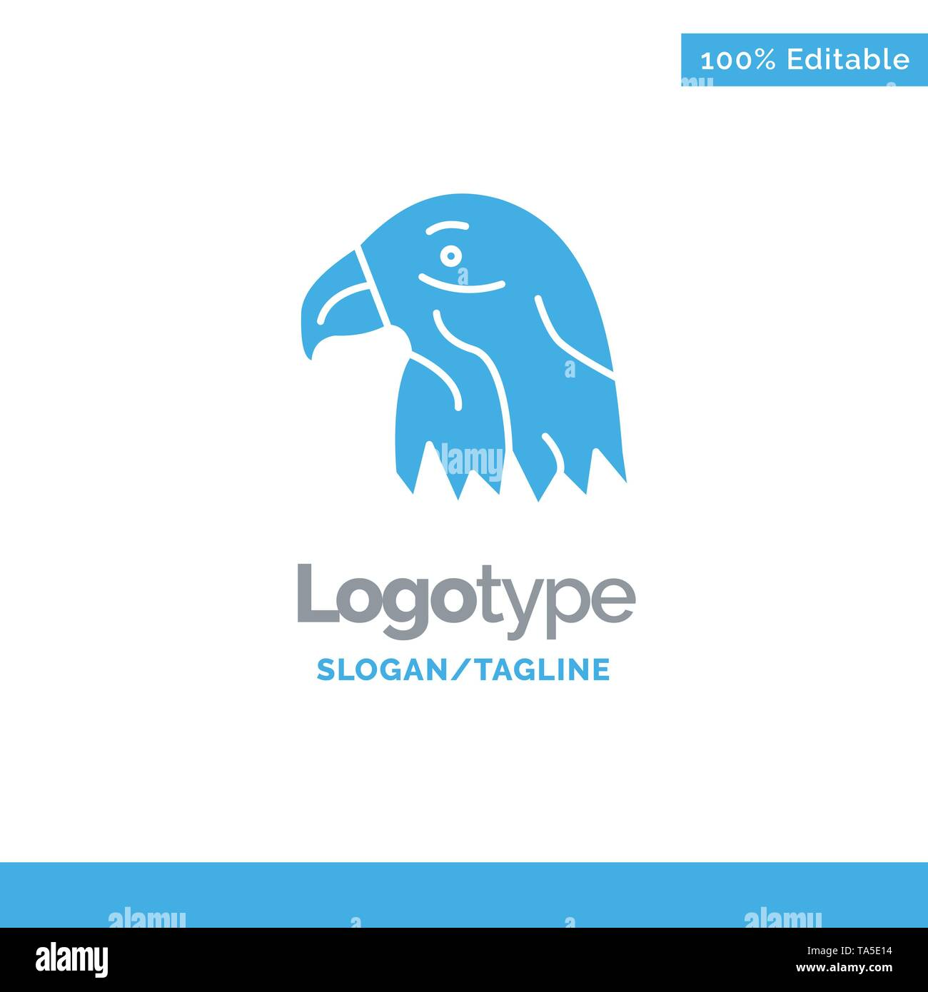Animal, Bird, Eagle, Usa Blue Solid Logo Template. Place for Tagline - Stock Image