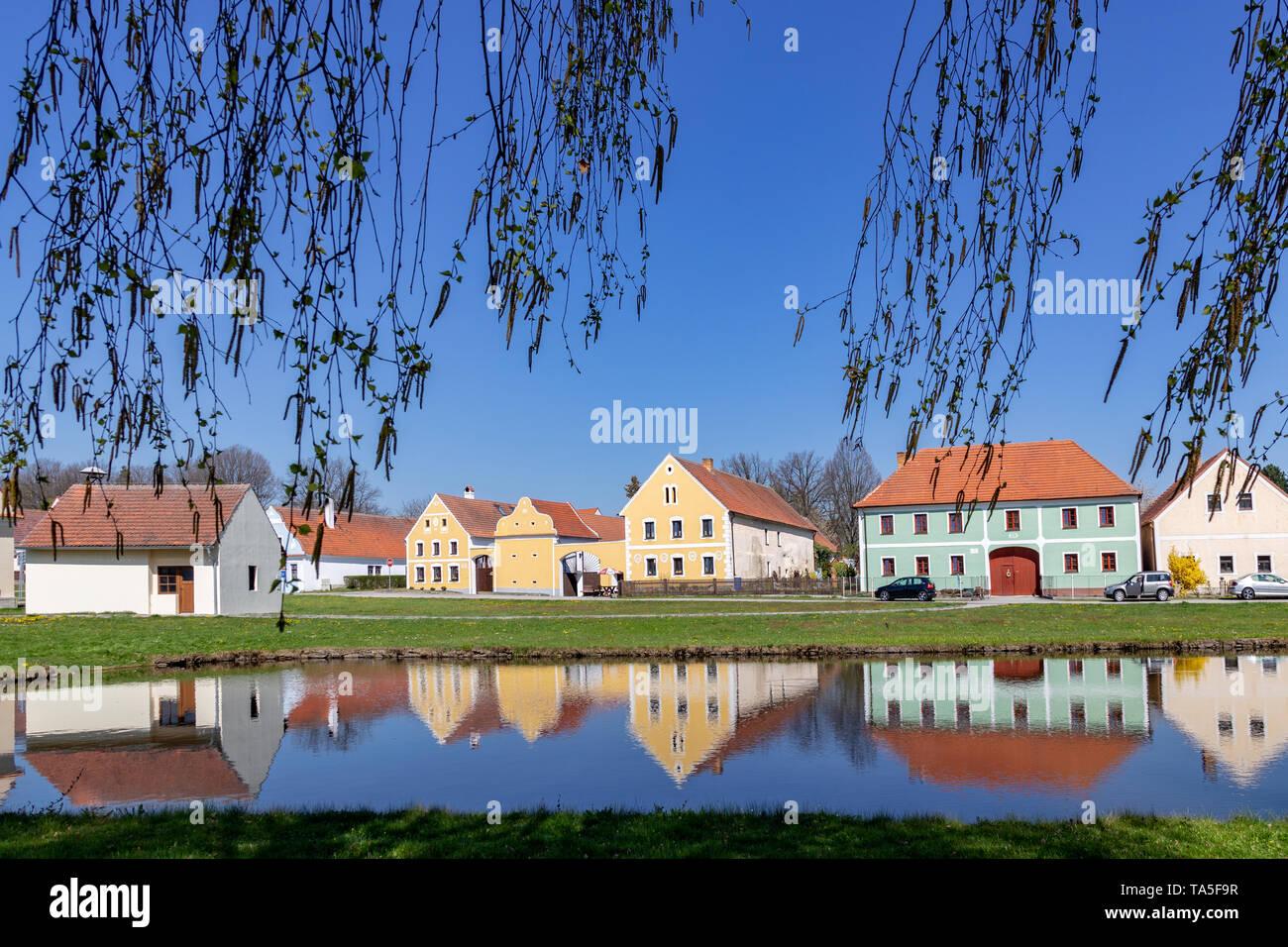 Vesnická památková rezervace - vesnice Záboří u Holašovic, Jizni Cechy, Ceska republika /  Zabori village near Holasovice, South Bohemia, Czech republ - Stock Image