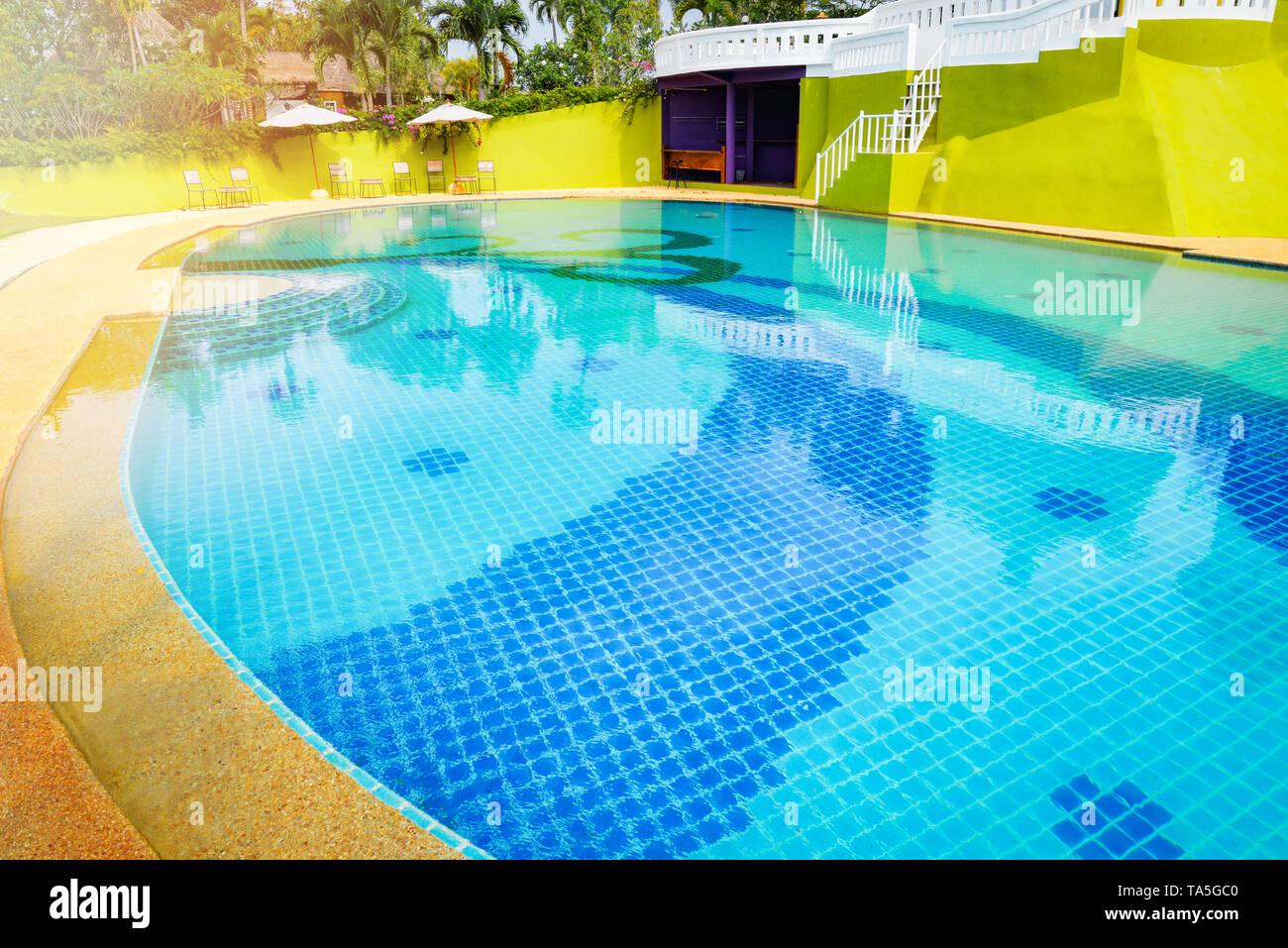 Swimming pool water / beautiful house with swimming pool ...