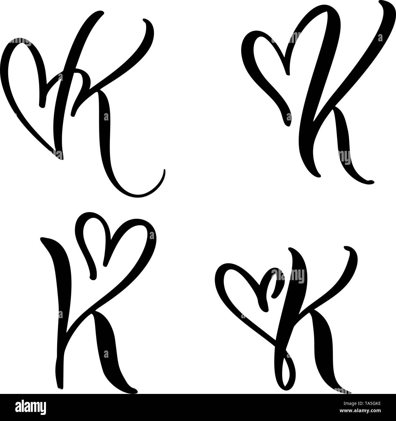 Vector Set Of Vintage Floral Letter Monogram K Calligraphy