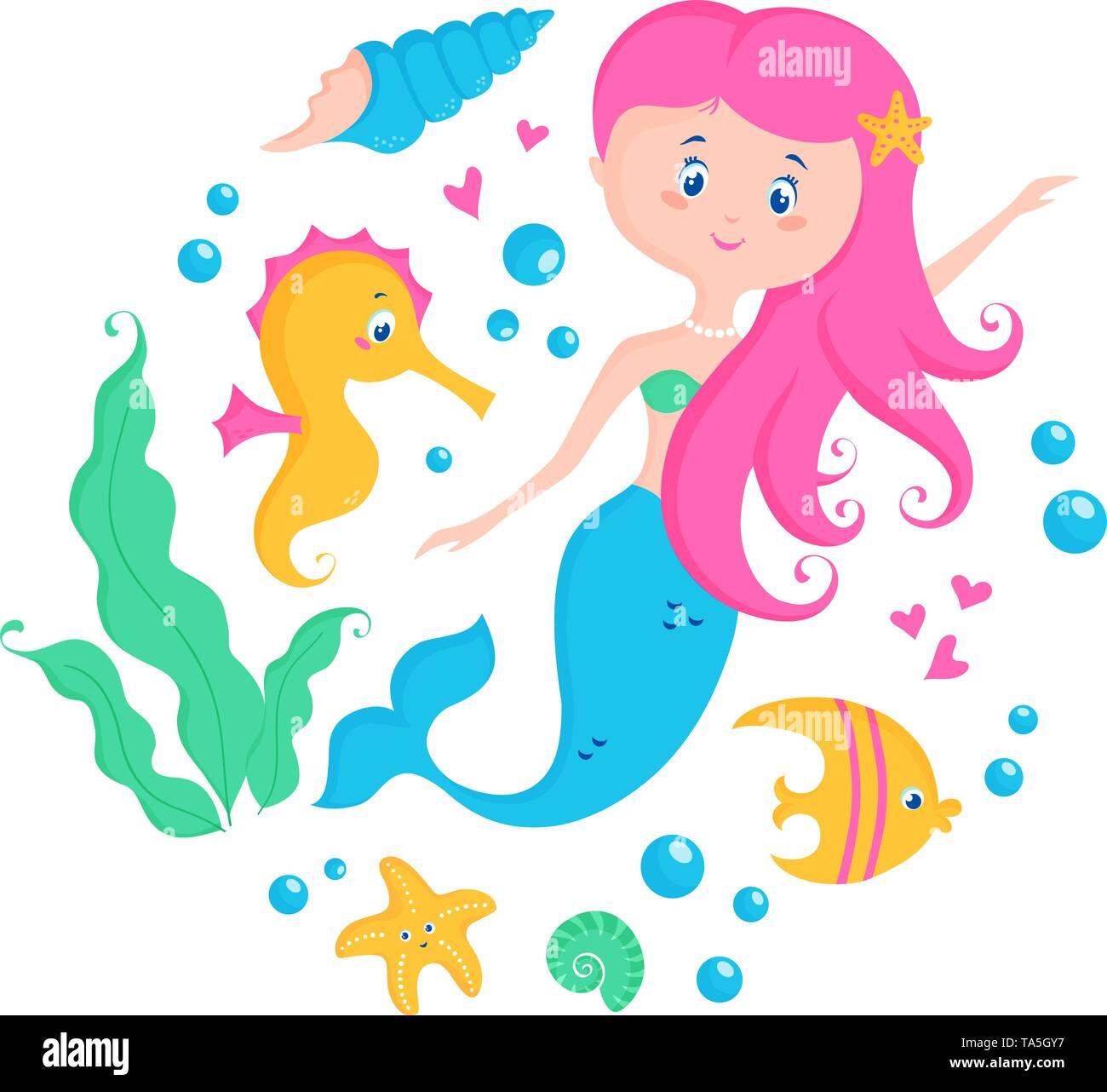 Little Mermaid And Cute Sea Animals Seahorse Fish