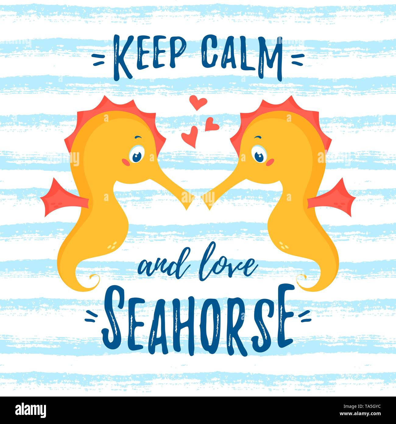 Illustration with cute enamored seahorses and quote - Keep ...