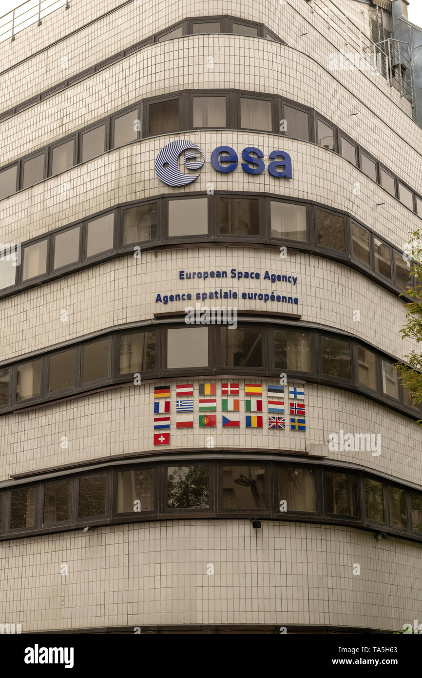 France, Paris, 2019 - 04 The European Space Agency  an intergovernmental organization of 22 member states dedicated to the exploration of space. - Stock Image