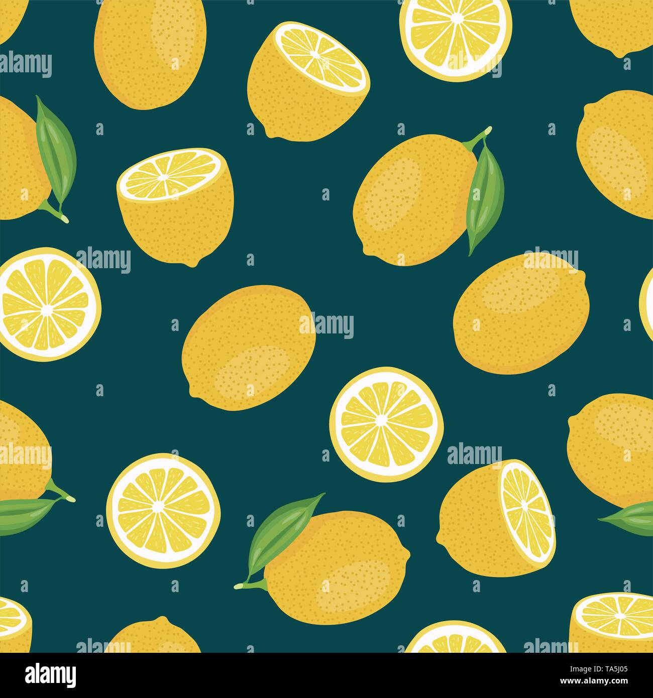 vector citrus seamless background of whole lemon with leaves and lemon slices. juicy citrus fruit seamless pattern - Stock Image