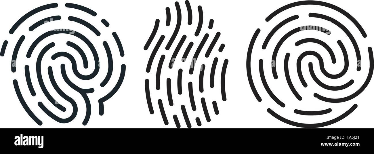vector set of fingerprint icons isolated on white background. human finger print symbols. black and white thumbprint designs. fingerprint signs for se - Stock Vector
