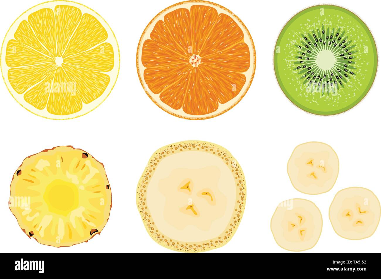 vector collection of fruit cuts isolated on white background. slice of lemon, orange, kiwi, pineapple and banana. half cut of fresh fruits for food il - Stock Image