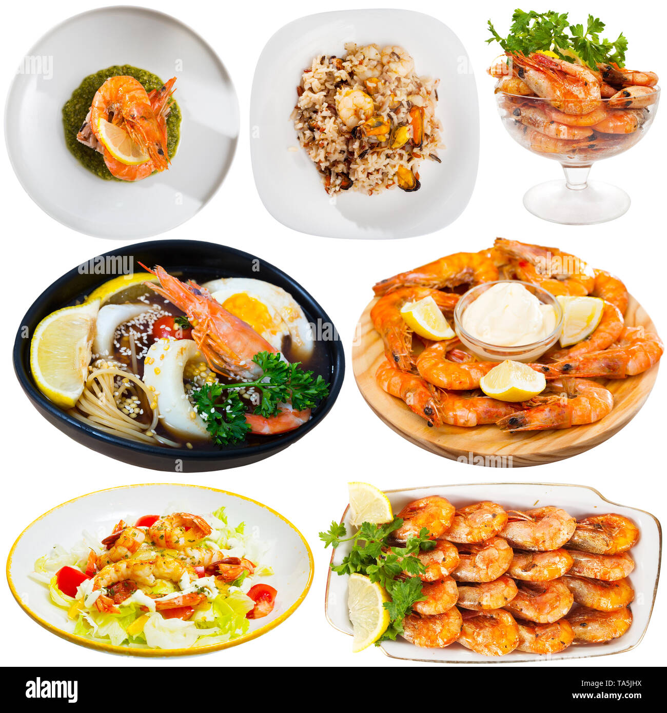 Collection of various dishes with shrimps, sauces and condiment on white background - Stock Image