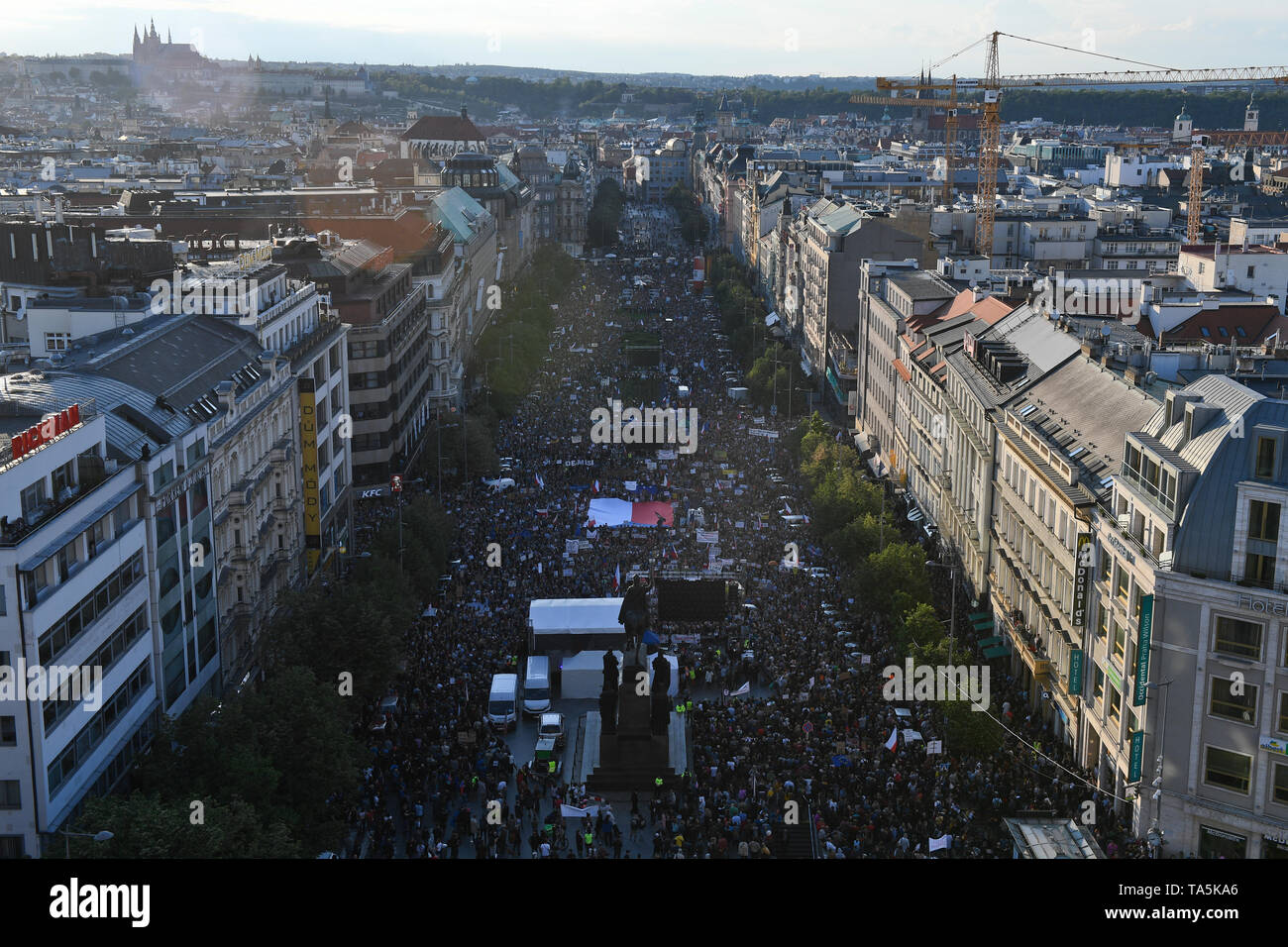 About 50,000 people joined another protest held by Million Moments for Democracy NGO, demanding resignation of Justice Minister Marie Benesova and aga Stock Photo