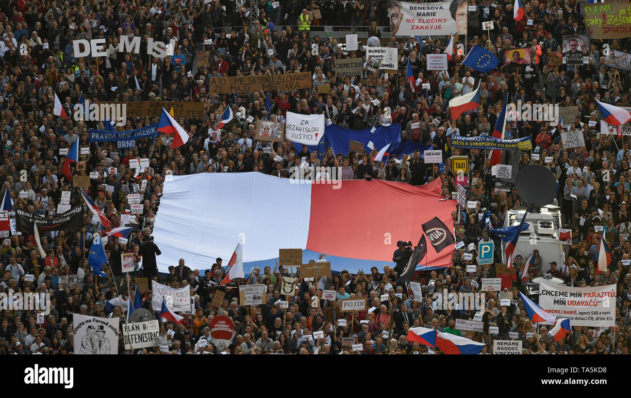 About 50,000 people joined another protest held by Million Moments for Democracy NGO, demanding resignation of Justice Minister Marie Benesova and aga - Stock Image