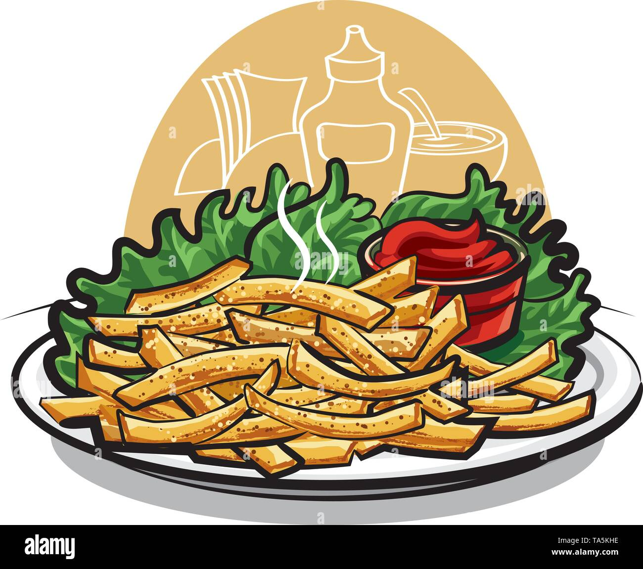 fries with ketchup - Stock Image