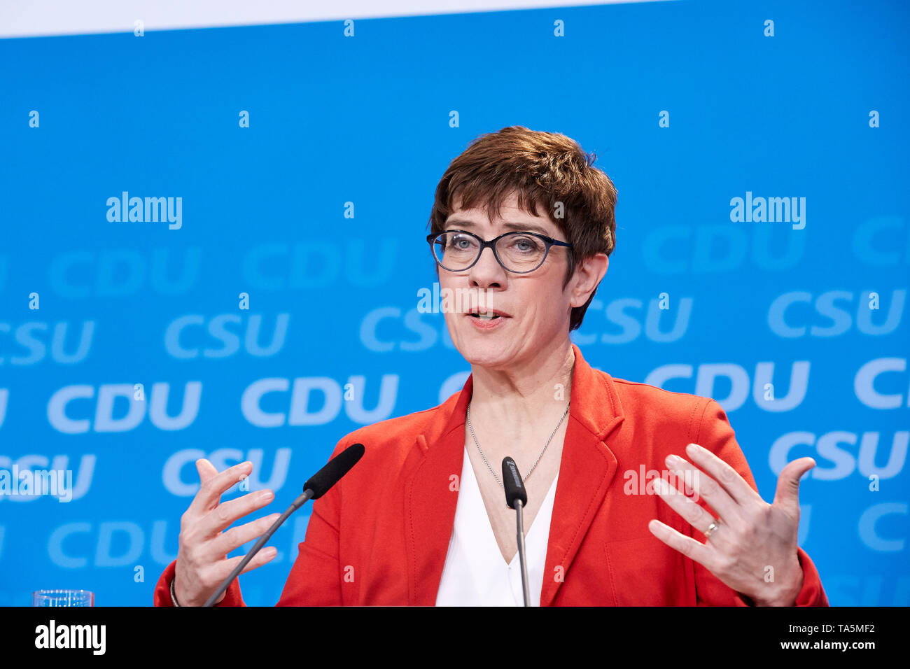 25.03.2019, Berlin, Berlin, Germany - Annegret Kramp-Karrenbauer, chairman of the CDU at a press conference of CDU and CSU on the joint party program  - Stock Image