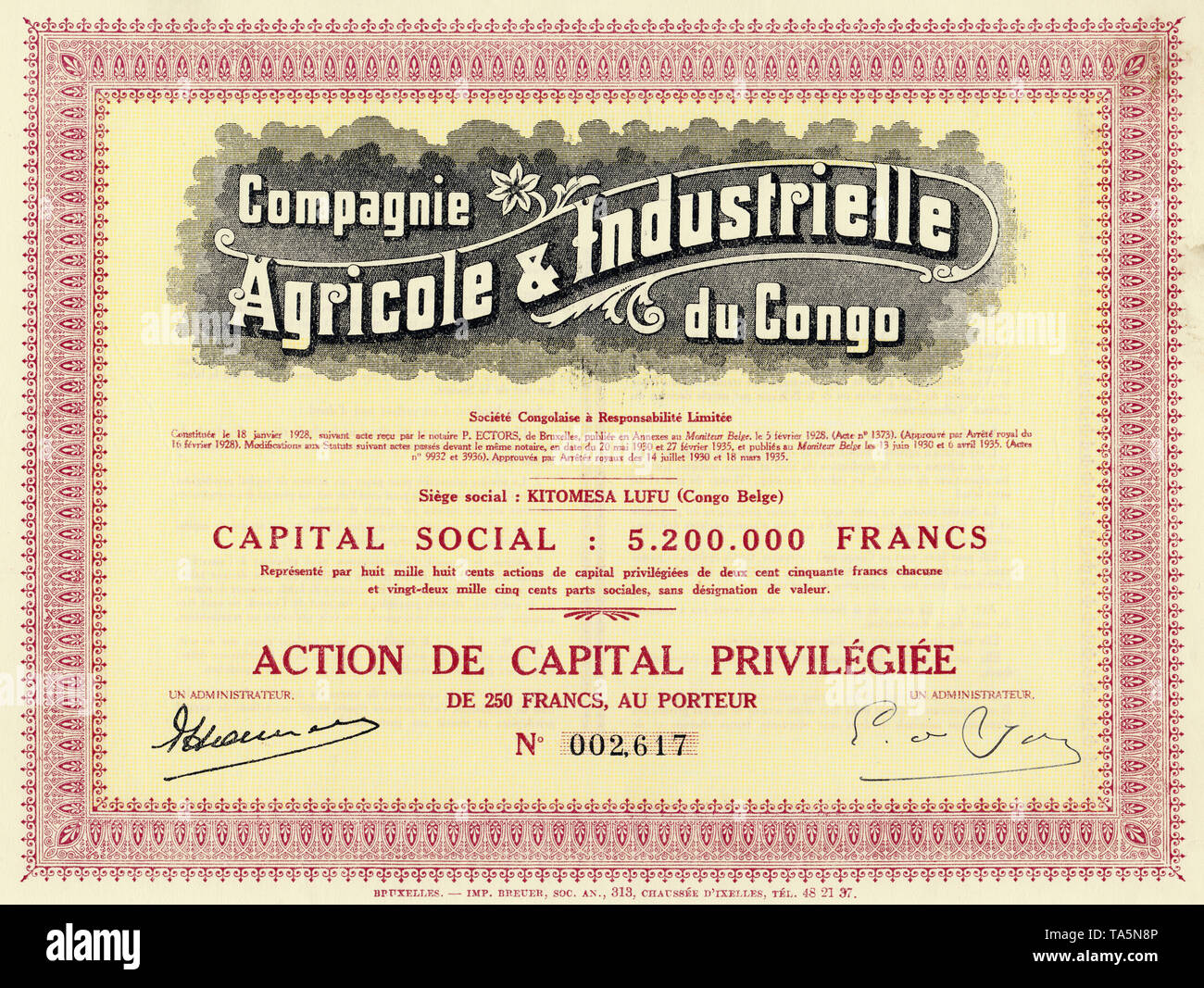 Historic colonial share certificate, agriculture and industry, 1935, Brussels, 250 Belgian francs, Belgium, Europe, Compagnie Industrielle and Agricole du Congo, Kitomesa Lufu, Belgian Congo, now Republic of Congo, Africa, Historisches Wertpapier, Kolonial-Aktie, Agrikultur und Industrie, 1935 in Brüssel über 250 belgische Franc, Belgien, Europa, Compagnie Agricole & Industrielle du Congo, Kitomesa Lufu, Belgisch-Kongo, heute Republik Kongo, Afrika - Stock Image