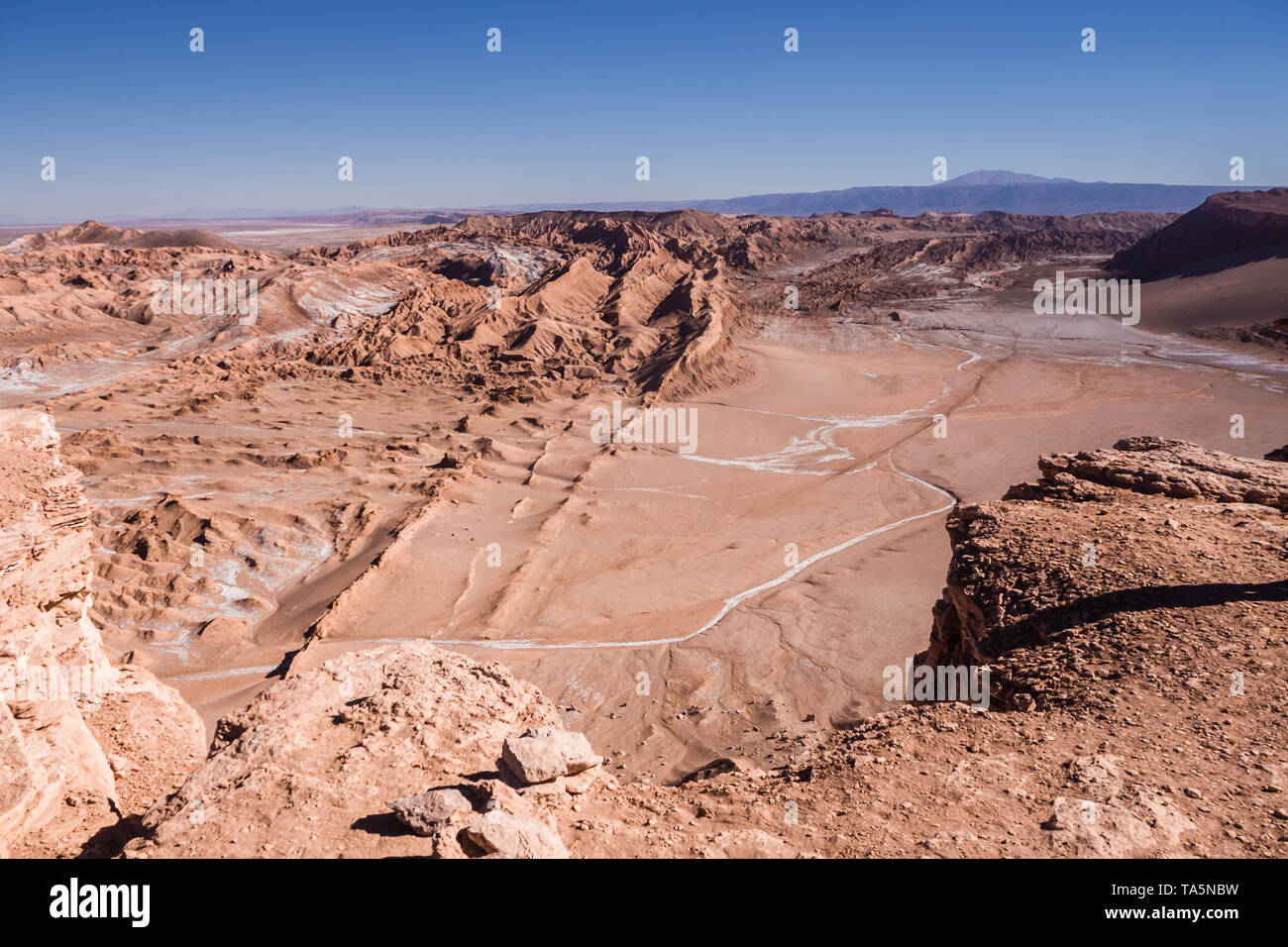 Aerial view of the Valley of the Moon in San Pedro de Atacama in northern Chile. - Stock Image