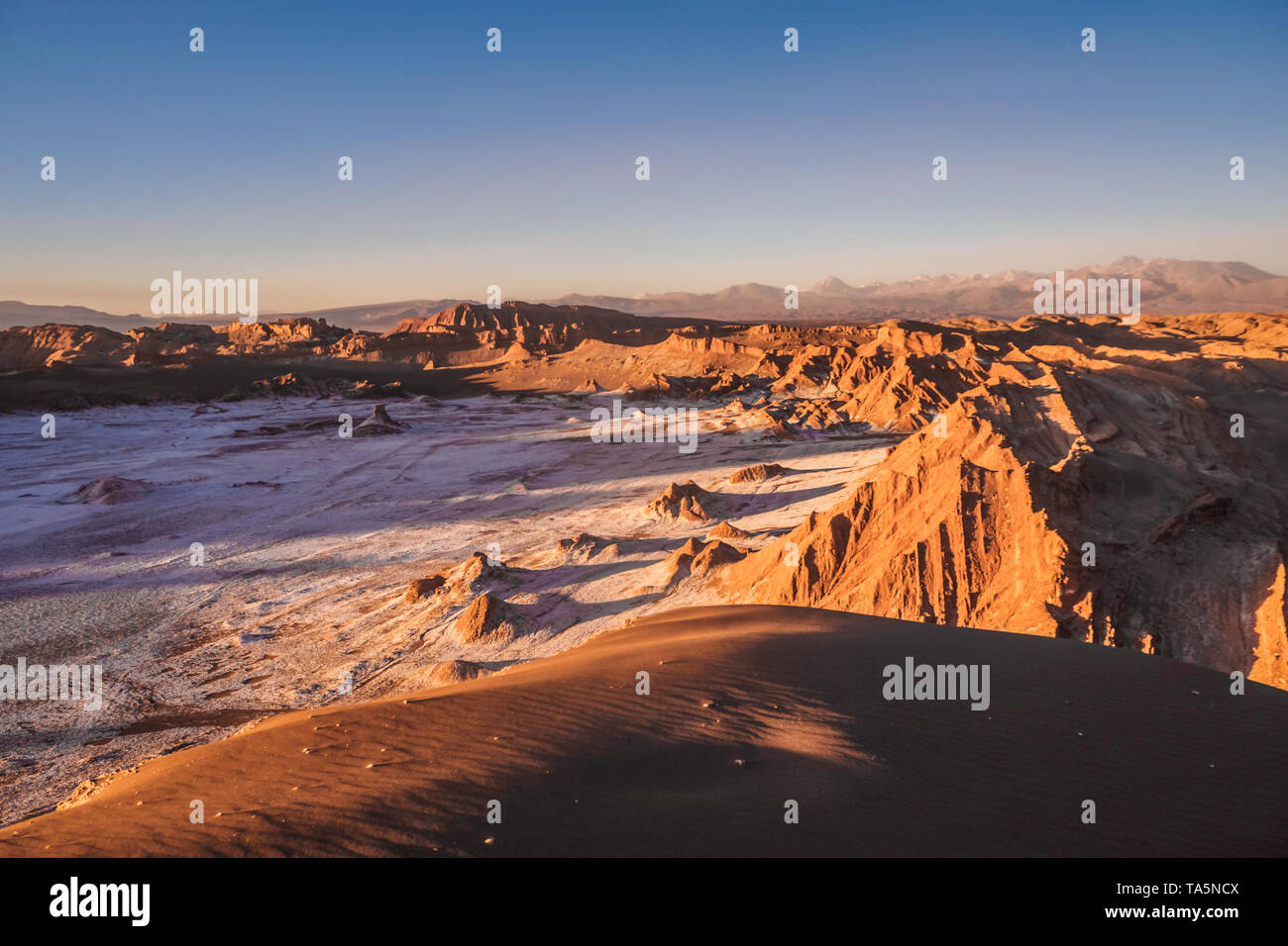 Aerial view of the Valley of the Moon in San Pedro de Atacama during sunset in northern Chile. - Stock Image