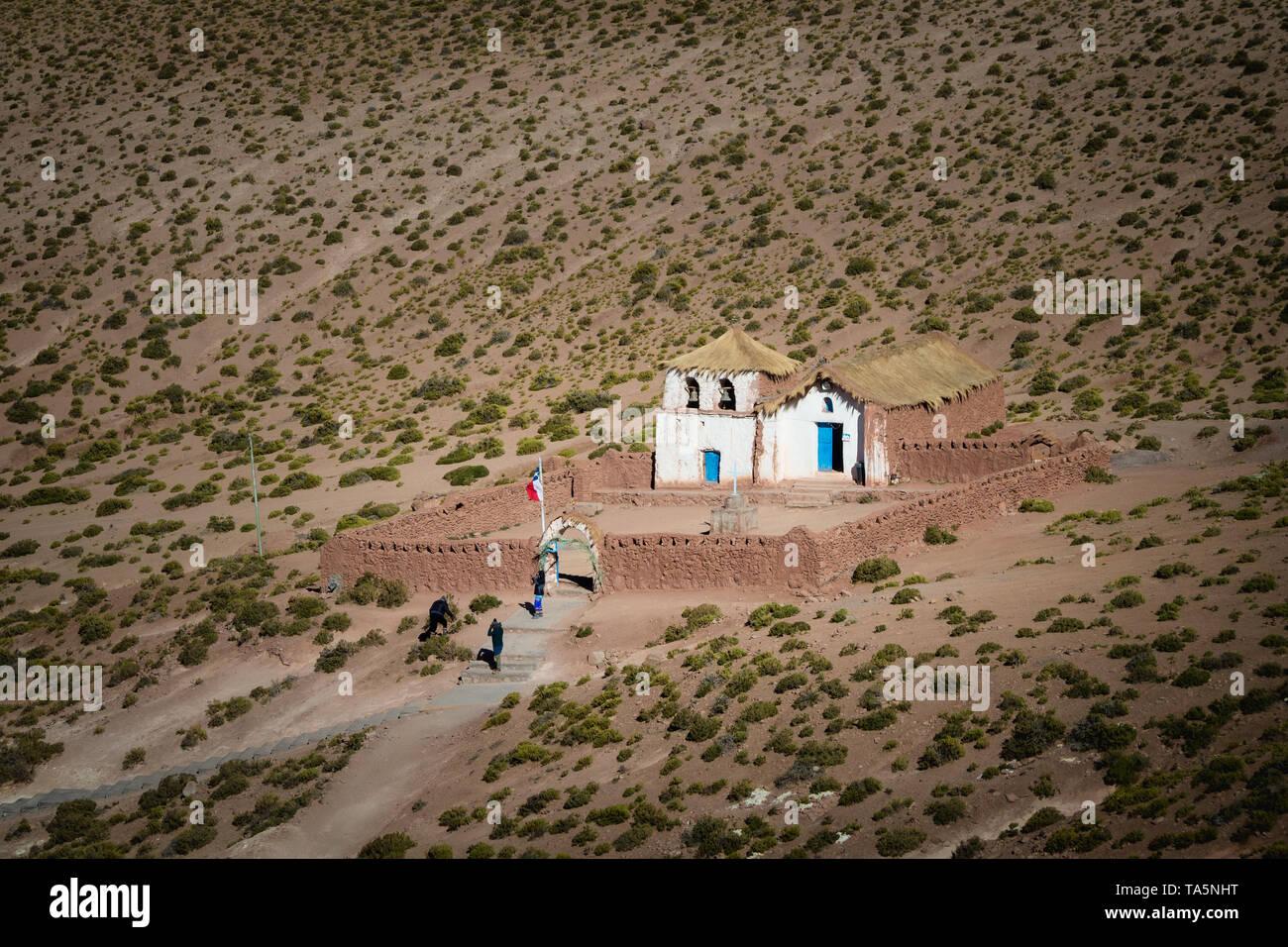 Small church of Machuca in San Pedro de Atacama, colonial church Chile - Stock Image
