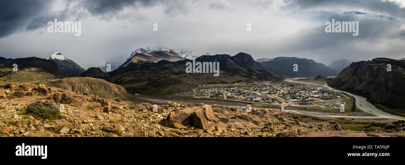 Panoramic view of the village of El Chalten in the Glacier National Park in Argentina with Fitz Roy mountain covered by cloud. View from el Mirador de - Stock Image