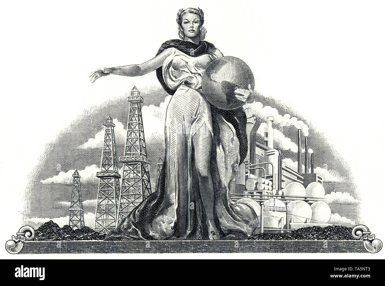 Illustration in the vignette of a historical stock certificate of an oil and gas company, a young woman holding a globe in front of oil rigs and an oil refinery, Belco Petroleum Corporation, now Belco Oil & Gas Corporation, Delaware, USA, 1976, Detail, Zeichnug in der Vignette, Wertpapier, historische Aktie, Mineralöl- und Erdgasunternehmen,  Motiv: Eine junge Frau hält die Weltkugel vor Bohrtürmen und einer Erdöl-Raffinerie, Belco Petroleum Corporation,  heute Belco Oil & Gas Corporation, 1976, Delaware, USA - Stock Image