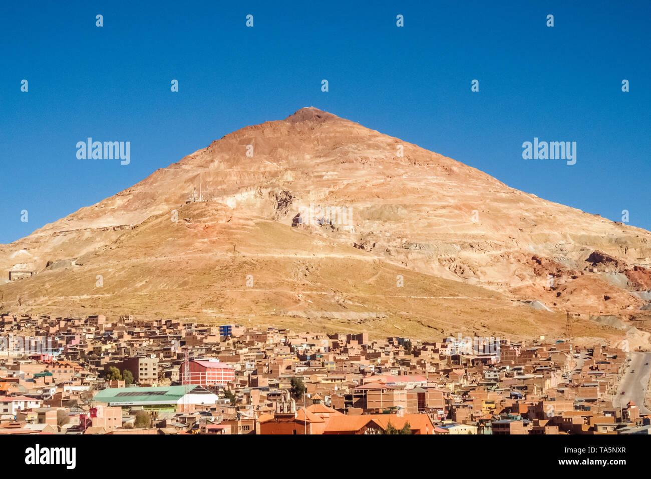 Mountain Cerro Rico in the city of Potosi, silver mine in Bolivia. Cityscape - Stock Image