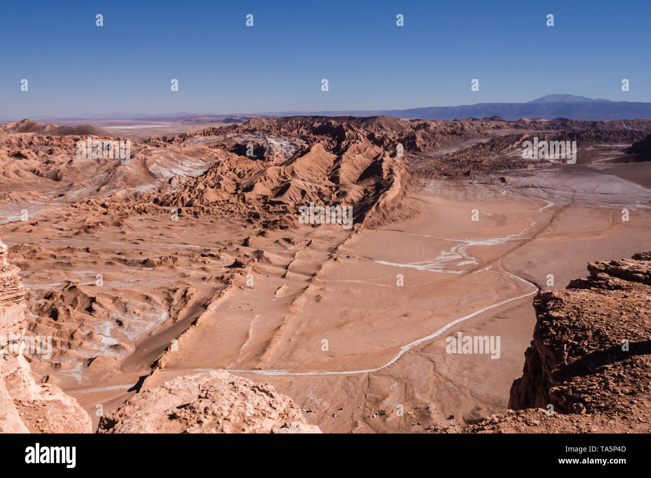 Moon Valley in San Pedro de Atacama in Atacama Desert in Chile. White salt and sand - Stock Image