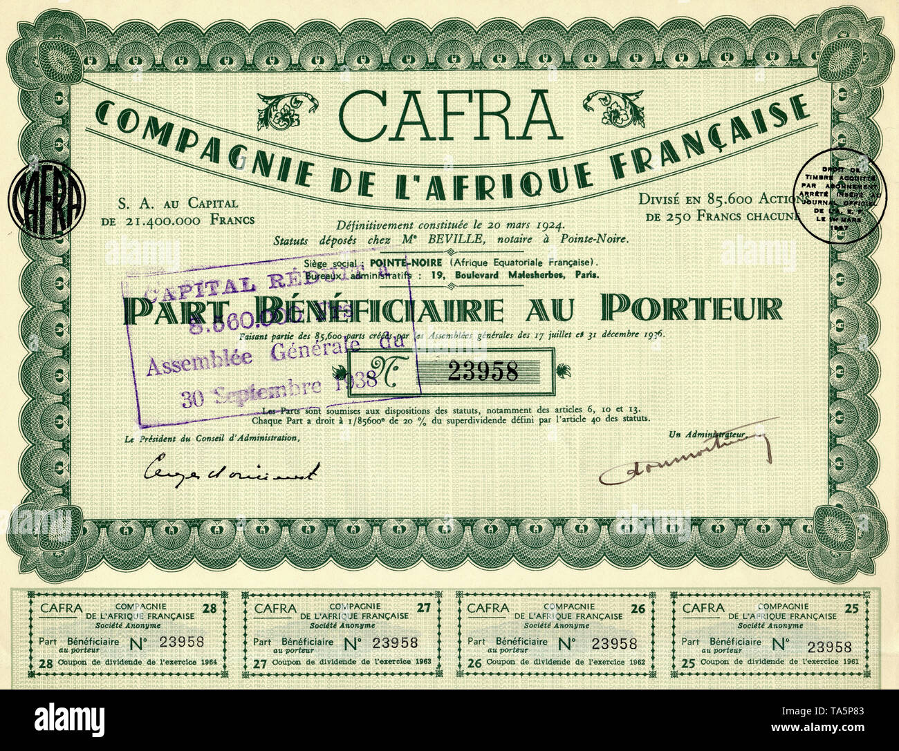 Historic colonial share certificate, 1936, Paris, 250 French francs, France, Europe, Compagnie Francaise de l'Afrique, CAFRA, Pointe-Noire, French Congo, also known as French Equatorial Africa, now Republic of Congo, Africa, Historisches Wertpapier, Kolonial-Aktie, ausgestellt 1936 in Paris über 250 französische Franc, Frankreich, Europa, Compagnie de l'Afrique Francaise, CAFRA, Pointe-Noire, Französisch-Kongo oder Französisch-Äquatorialafrika, heute Republik Kongo, Afrika - Stock Image