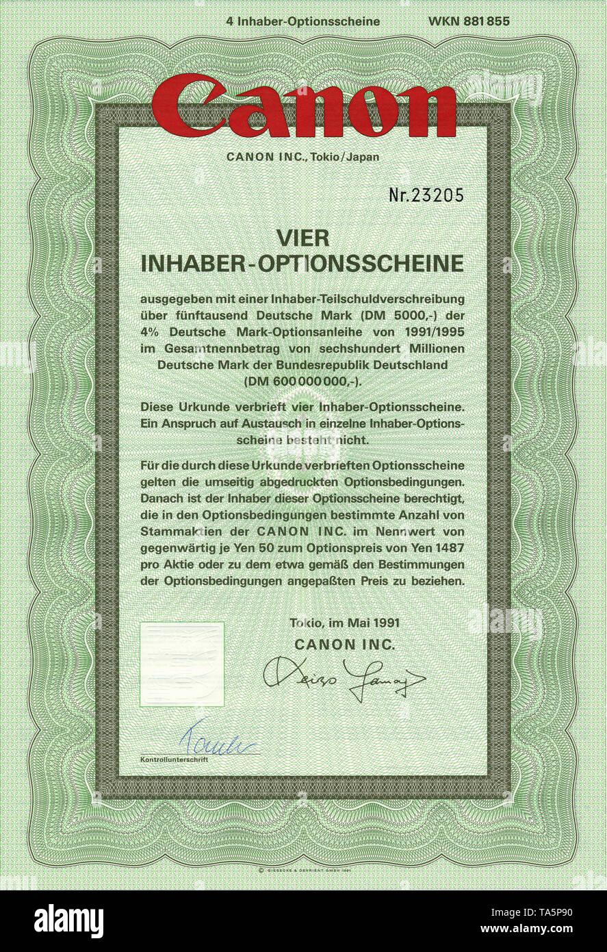 Historic stock certificate, Securities certificate, bearer warrant, Germany, Wertpapier, Inhaber-Optionsschein, japanische Yen, Deutsche Mark, Kamerahersteller, Canon Inc., 1991, Tokio, Japan, Asien - Stock Image
