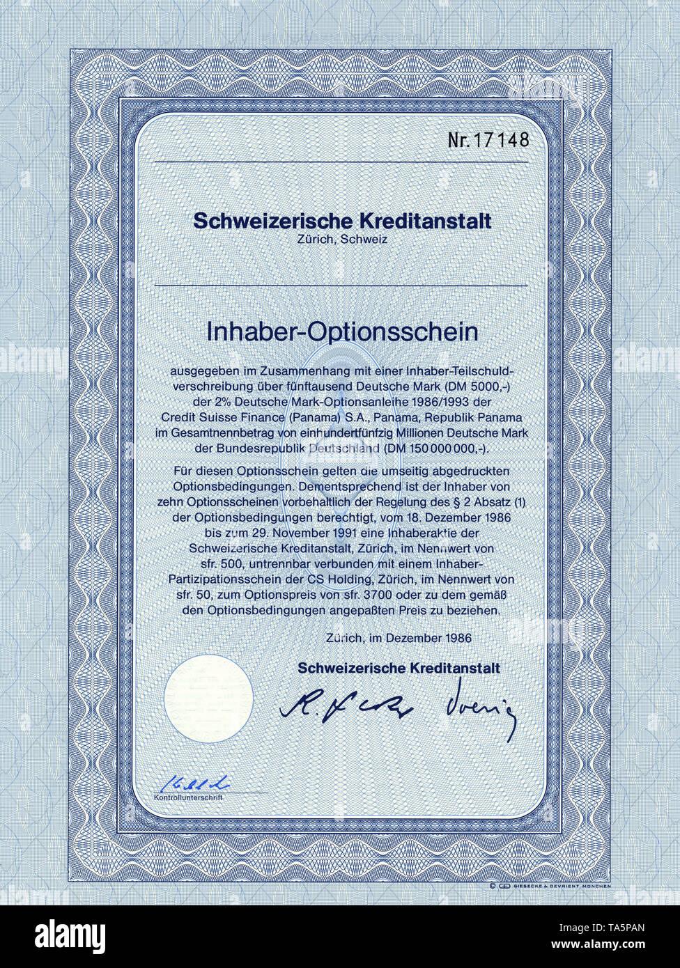 Historic stock certificate, Securities certificate, bearer warrant, Wertpapier, Inhaber-Optionsschein, Deutsche Mark, Schweizerische Kreditanstalt, Zürich, 1986, Schweiz, Europa - Stock Image